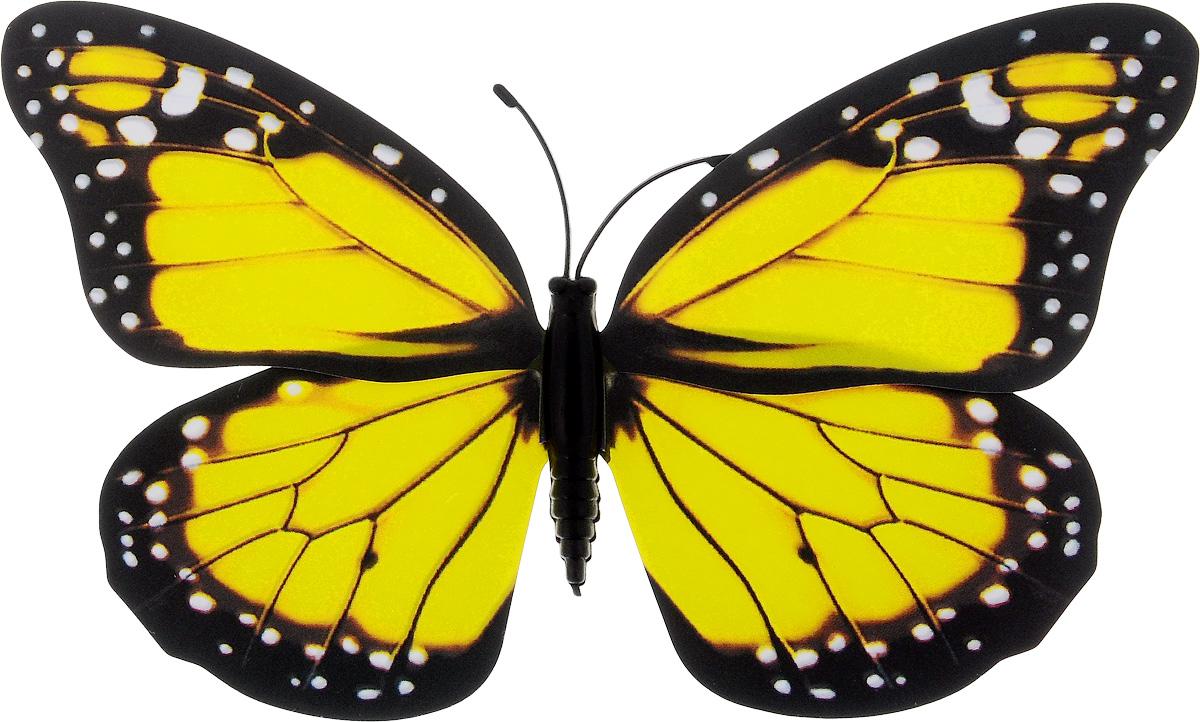 Фигура садовая Village people Тропическая бабочка, с магнитом, цвет: желтый, черный, 11,5 х 9 см531-402Ветряная фигурка Village People Тропическая бабочка, изготовленная из ПВХ, это не только красивое украшение, но и замечательный способ отпугнуть птиц с грядок. При дуновении ветра бабочка начинает порхать крыльями. Изделие оснащено магнитом, с помощью которого вы сможете поместить его в любом удобном для вас месте. Яркий дизайн фигурки оживит ландшафт сада.