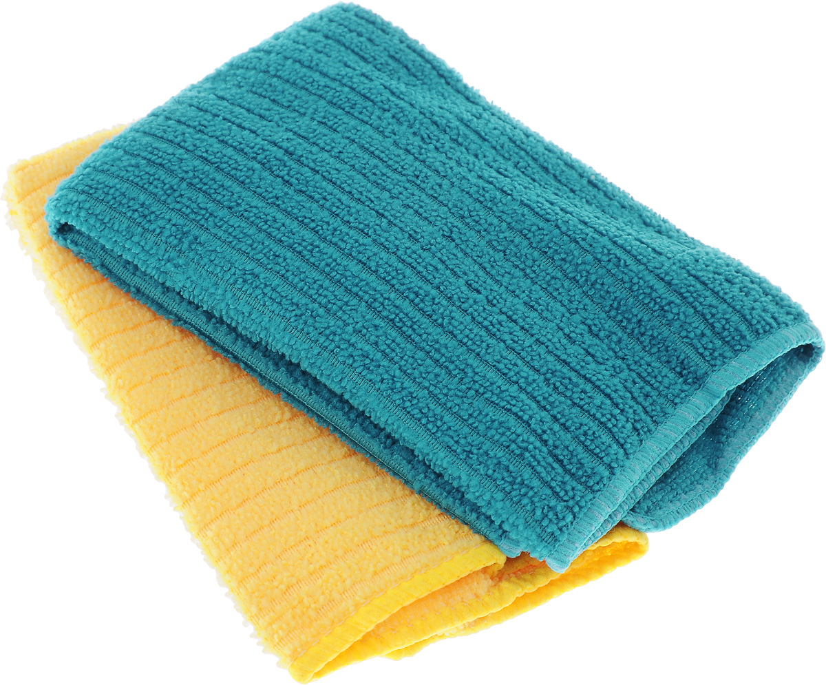 Салфетка из микрофибры Home Queen, цвет: бирюзовый, желтый, 30 х 30 см, 2 шт10043_голубойСалфетка Home Queen изготовлена из микрофибры. Это великолепная гипоаллергенная ткань, изготовленная из тончайших полимерных микроволокон. Салфетка из микрофибры может поглощать количество пыли и влаги, в 7 раз превышающее ее собственный вес. Многочисленные поры между микроволокнами, благодаря капиллярному эффекту, мгновенно впитывают воду, подобно губке. Благодаря мелким порам микроволокна, любые капельки, остающиеся на чистящей поверхности, очень быстро испаряются, и остается чистая дорожка без полос и разводов. В сухом виде при вытирании поверхности волокна микрофибры электризуются и притягивают к себе микробы, мельчайшие частицы пыли и грязи, удерживая их в своих микропорах.