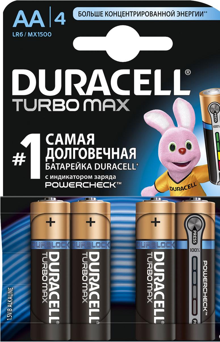 Набор алкалиновых батареек Duracell Turbo Power Check, тип AA, 4 шт7615Набор алкалиновых батареек Duracell Turbo Power Check предназначен для использования в различных электронных устройствах, например в пультах дистанционного управления, портативных MP3-плеерах, фотоаппаратах, различных беспроводных устройствах.Батарейка Turbo Power Check оснащена индикатором заряда, который позволит вам вовремя заменить старую (севшую) батарейку на новую. Характеристики: Типоразмер: AA (LR6). Тип электролита: щелочной. Выходное напряжение: 1,5 В. Комплектация: 4 шт.