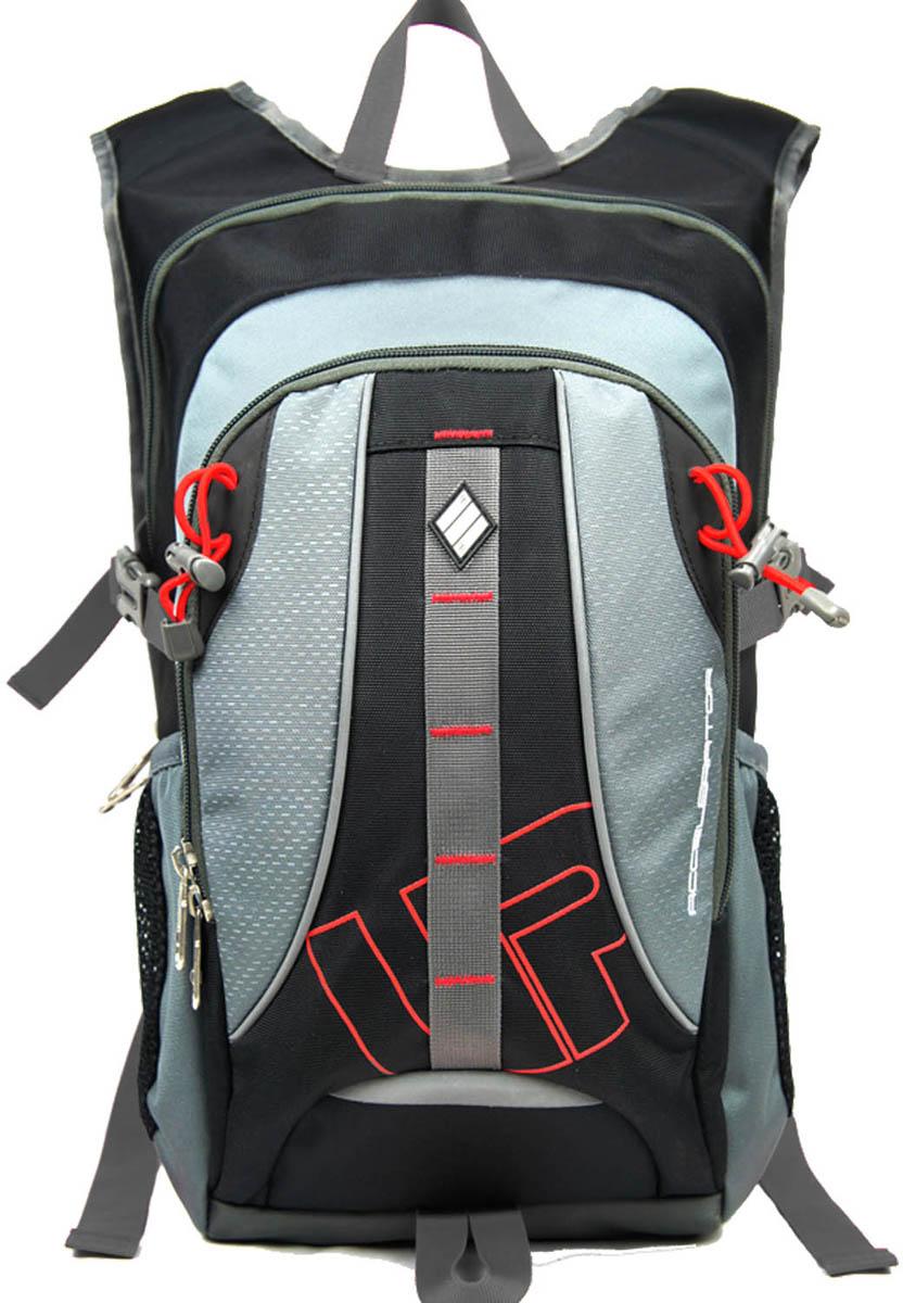 Рюкзак спортивный UFO people, цвет: серый, 23 л. 55015501Рюкзак городской UFO people выполнен из высококачественного нейлона и оформлен фирменной надписью.Изделиеимеет мягкие вставки на спинке, нагрудный фиксатор лямок, уплотненное дно и ремешки для крепления длинномерных предметов. Рюкзак оснащен ручкой для подвешивания и удобными лямками, длина которых регулируется с помощью пряжек. Изделие оснащено 6 наружными карманами на молниях. Внутри расположено два вместительных отделения на молнии.