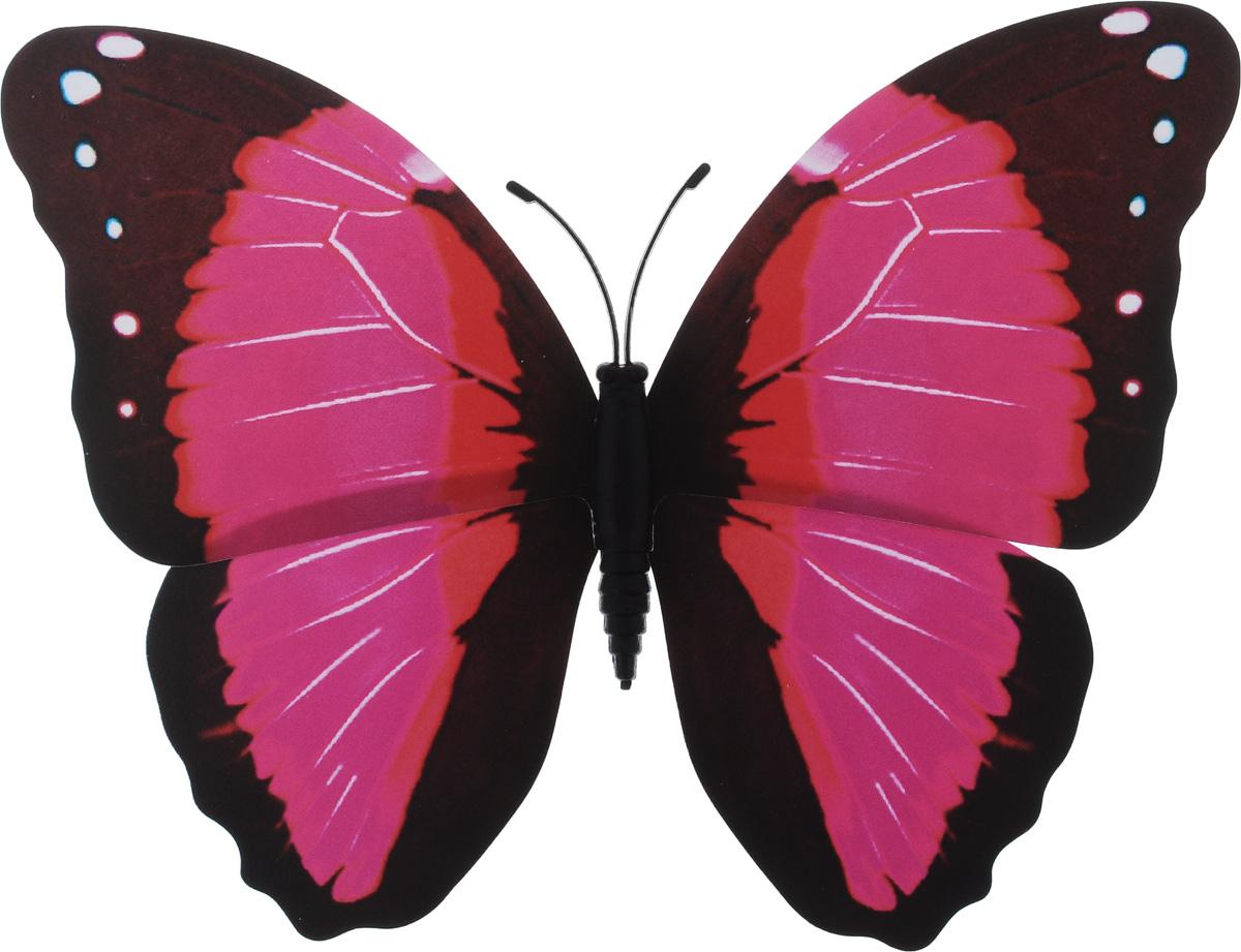 Декоративное украшение Village people Тропическая бабочка, с магнитом, цвет: розовый, коричневый (29), 12 х 8 см41619Декоративная фигурка Village People Тропическая бабочка, изготовленная из ПВХ, это не только красивое украшение, но и замечательный способ отпугнуть птиц с грядок: при дуновении ветра бабочка начинает махать крыльями. Изделие выполнено в виде бабочки и оснащено магнитом, с помощью которого вы сможете поместить изделие в любом удобном для вас месте. Яркий дизайн изделия оживит ландшафт сада.