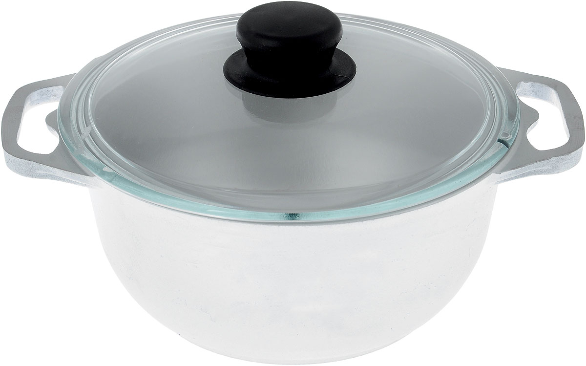 Кастрюля Катюша с крышкой, 2 л. к20с54 009312Кастрюля Катюша, выполненная из литого алюминия, позволит вам приготовить вкуснейшие блюда. Обычно такие кастрюли используют для варки каш или овощей. Благодаря хорошей теплопроводности алюминия, молоко или вода закипают в них быстрее, чем в эмалированных кастрюлях.Данная кастрюля отличается долговечностью и легкостью. Крышка изготовлена из жаропрочного стекла. Она плотно прилегает к кастрюле и позволяет следить за процессом приготовления без потери тепла. Подходит для газовых, электрических и галогеновых плит. Не подходит для индукционных плит. Высота стенки: 9,5 см. Ширина кастрюли (с учетом ручек): 27 см.