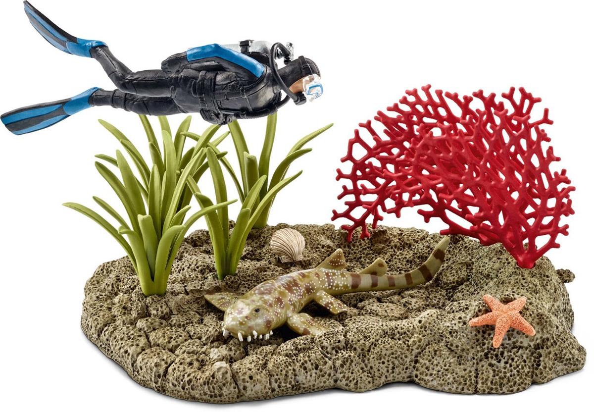 Schleich Набор фигурок Риф под водой с дайвером schleich набор фигурок конкуристка с лошадью 42359