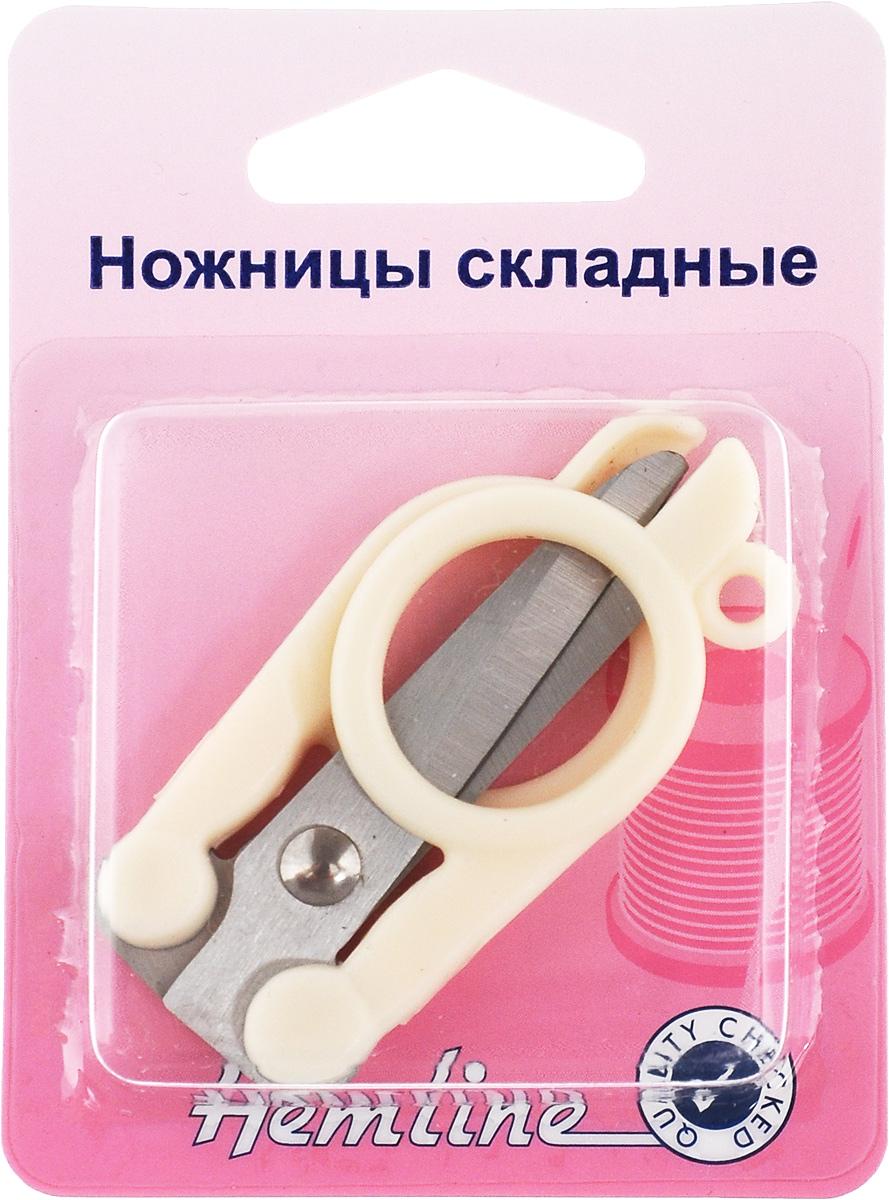Ножницы складные HemlineFS-00897Складные ножницы Hemline, изготовленные из прочного металла, будут удобны в дороге и безопасны для хранения. Их можно носить на брелоке или в дамской сумочке. Изделие оснащено удобными пластиковыми ручками. Ножницы предназначены для обработки краев изделия и обрезания рабочих ниток.Размер (в сложенном виде): 6 х 3 х 1 см.Длина лезвий: 5,5 см.