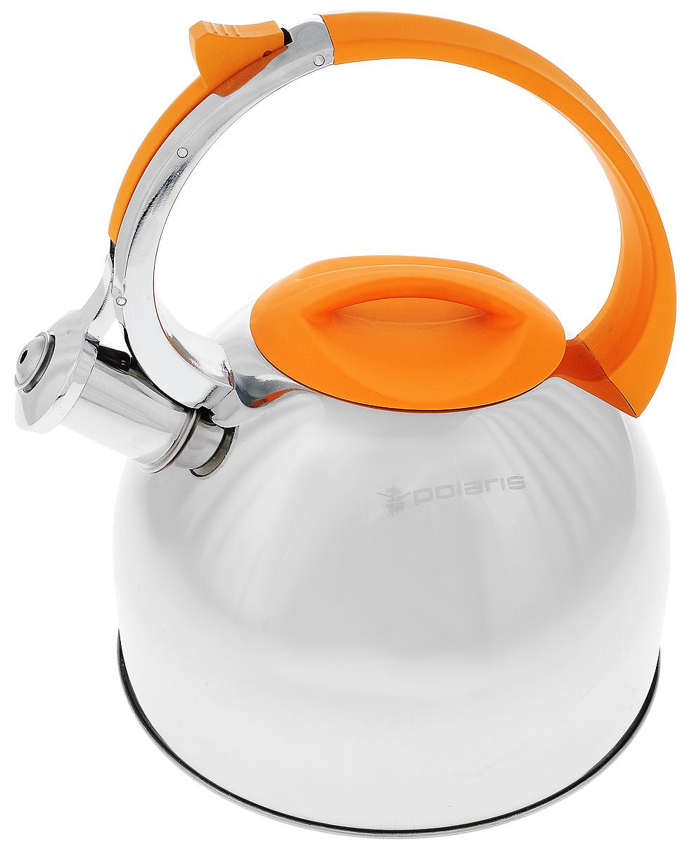 Чайник Sound-3L нерж. сталь 3 л (Polaris), цвет: оранжевыйSound-3LВысококачественная нержавеющая сталь 18/10Эргономичная ручка из бакелита с покрытием «Soft touch»Крышка из бакелита с покрытием «Soft touch»Чайник оповещает о вскипании мелодичным свистомСвисток открывается кнопкой на ручкеПодходит для всех типов плит Объём: 3л