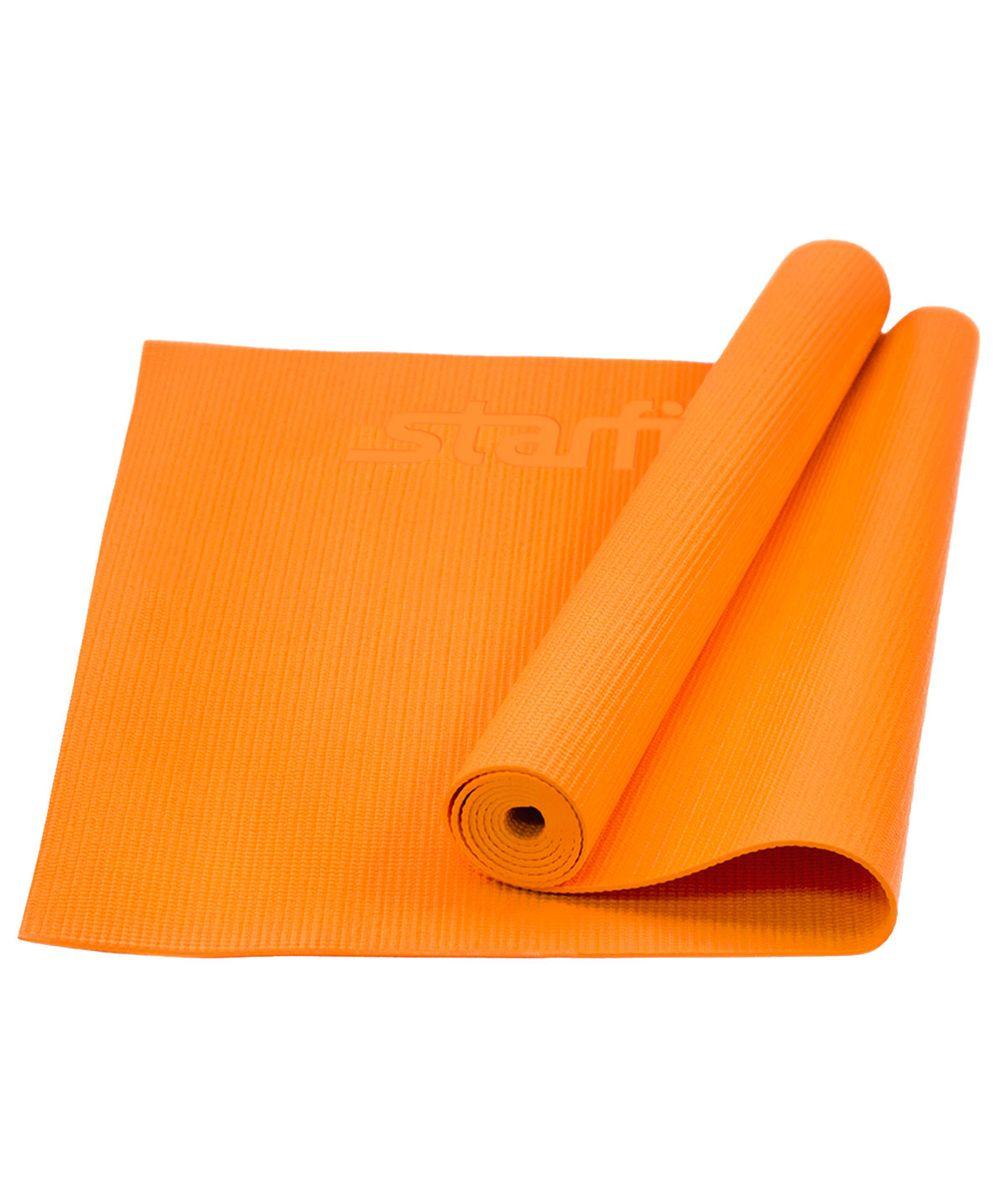 Коврик для йоги Starfit FM-101, цвет: оранжевый, 173 х 61 х 0,4 смУТ-00008832Коврик для йоги Star Fit FM-101 - это незаменимый аксессуар для любого спортсмена как во время тренировки, так и во время пре-стретчинга (растяжки до тренировки) и стретчинга (растяжки после тренировки). Выполнен из высококачественного ПВХ. Коврик используется в фитнесе, йоге, функциональном тренинге. Его используют спортсмены различных видов спорта в своем тренировочном процессе.Предпочтительно использовать без обуви. Если в обуви, то с мягкой подошвой, чтобы избежать разрыва поверхности коврика.