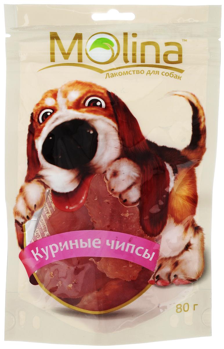 Лакомство для собак Molina Куриные чипсы, 80 г0120710Лакомство Molina в виде куриных чипсов удовлетворяет естественный жевательный инстинкт вашей собаки. Укрепляет челюсть и жевательную мускулатуру. Очищает зубы и предотвращает образование зубного камня. Лакомство содержит глицин, благотворно влияющий на кожу и шерсть. Товар сертифицирован.