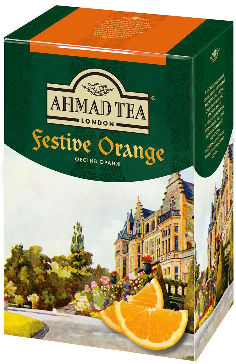 Ahmad Tea Festive Orange черный листовой чай, 90 г0120710В составе этой десертной композиции - цитрусовый вкус апельсина Моро, средиземноморского красного фрукта с уникальным ягодным послевкусием. Идеально раскрывается в букете индийского и цейлонского купажа лучших плантационных сортов.