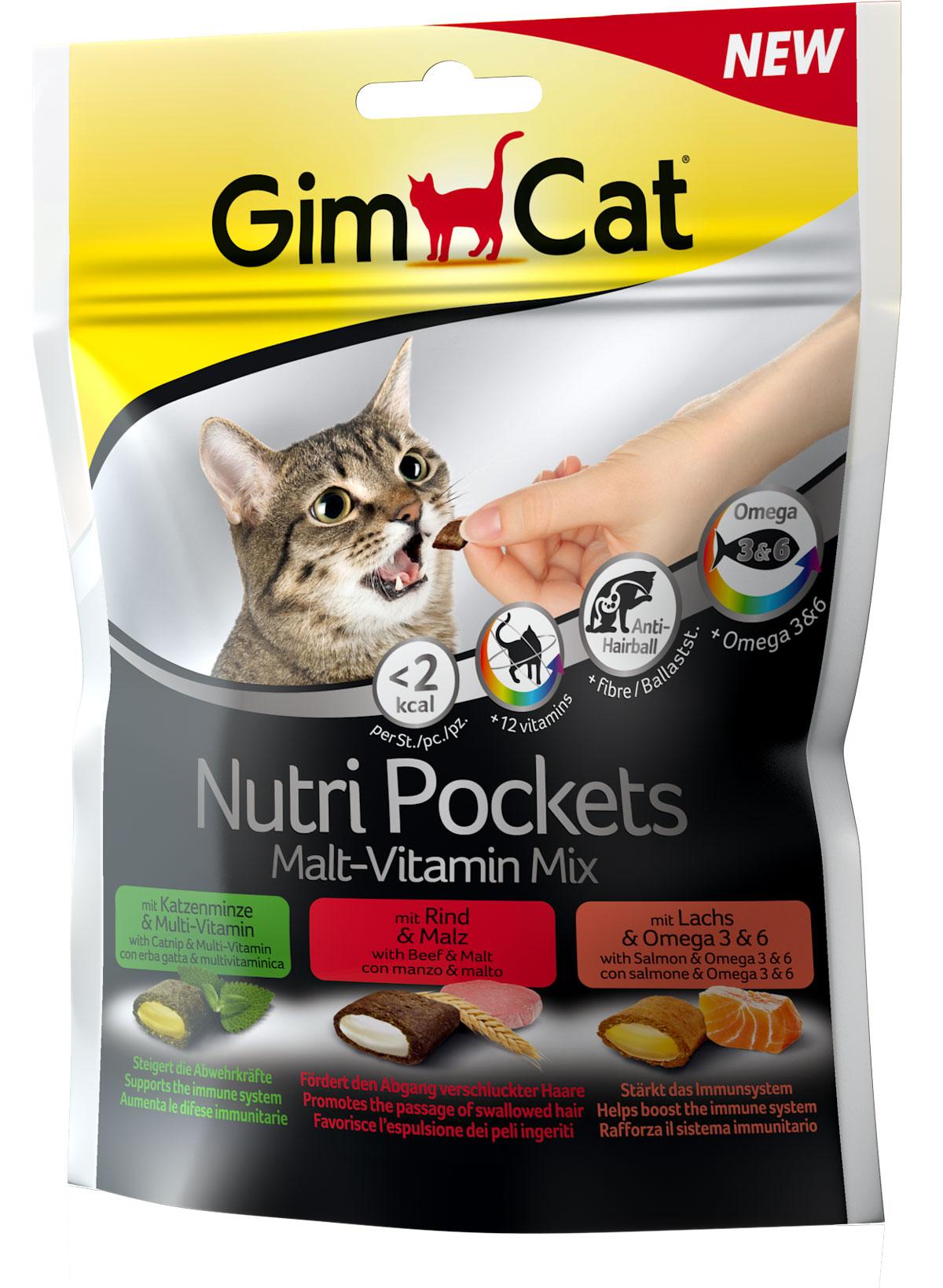 Лакомство для взрослых кошек Gimcat NutriPockets, подушечки, 150 г0120710NutriPockets от GimCat — хрустящие подушечки с вкусной и полезной начинкой. Подушечки с пастой Бьюти содержат биотин и цинк, которые делают шерсть более блестящей и здоровой, ускоряют процесс линьки, помогают сделать кожу более эластичной, а когти — более крепкими. C кошачьей мятой и мультивитаминной пастой - содержит 12 жизненно важных витаминов для укрепления естественных защитных сил организма.NutriPockets от GimCat являются дополнительным кормом для кошек.