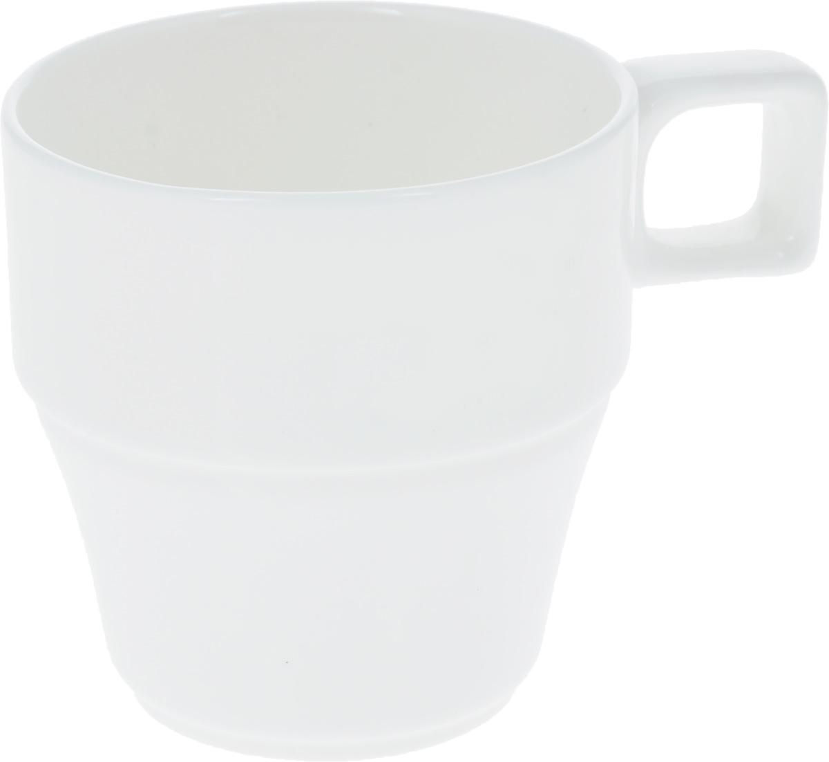 Кружка Wilmax, 250 мл. WL-993050391602Штабелируемая кружка Wilmax выполнена из высококачественного фарфора. Изделие впишется в любой интерьер современной кухни, а также станет отличным дополнением к сервировке праздничного или обеденного стола. Диаметр кружки (по верхнему краю): 8 см.