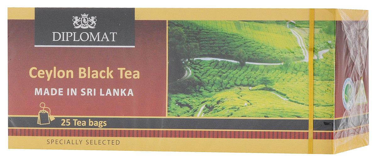 Diplomat Ceylon Black Tea Classic Blend чай черный в пакетиках, 25 шт101246Diplomat Ceylon Black Tea Classic Blend - черный классический чай. Напиток имеет бархатный вкус, в котором преобладают древесные нотки и послевкусие с цветочными нотками.