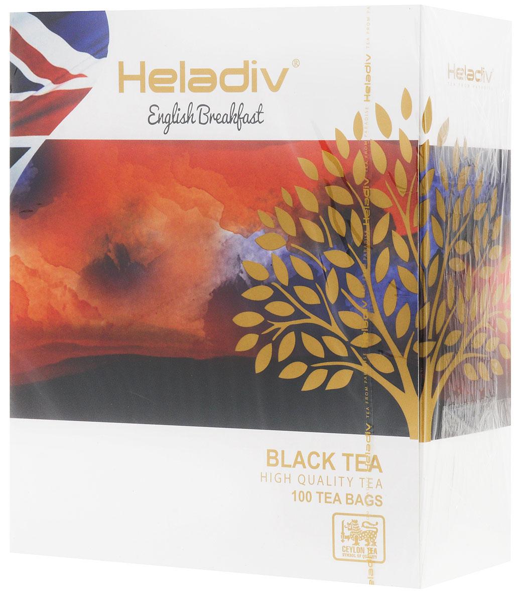 Heladiv English Breakfast чай черный в пакетиках, 100 шт0120710Heladiv English Breakfast - высокогорный элитный чай, классического вкуса и аромата. Этот крепкий и бодрящий по вкусу напиток прекрасно пробуждает от сна.