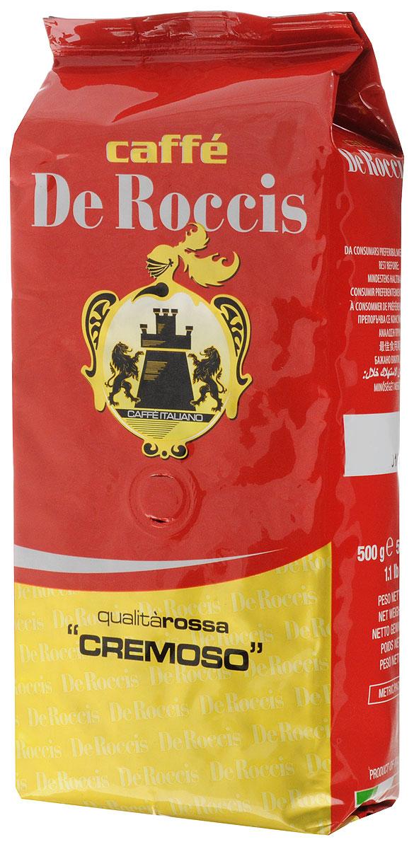De Roccis Rossa Cremoso кофе в зернах, 500 г4600946000049Кофейный купаж De Roccis Rossa Cremoso средней сладости создан из лучших сортов зерен Арабики и Робусты, придающих напитку длительное послевкусие и тонкий аромат.