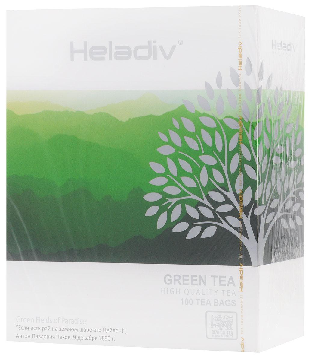 Heladiv Green Tea чай зеленый в пакетиках, 100 шт чай в пакетиках green tea with lemon 50 шт