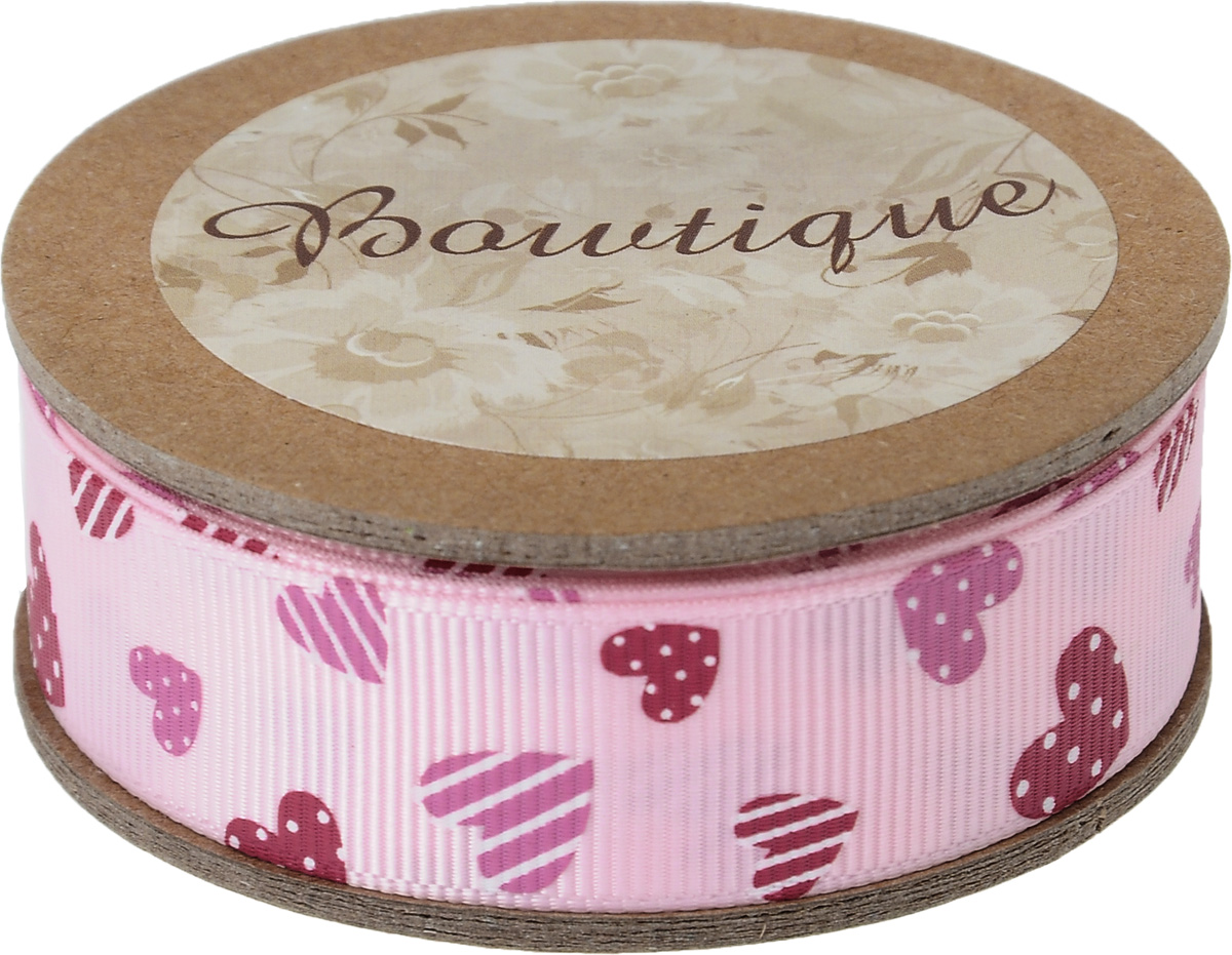 Лента репсовая Hemline Сердечки, цвет: розовый, красный, 2 х 500 см44222Репсовая лента Hemline Сердечки выполнена из полиэстера. Она жесткая и хорошо держит форму. Такая лента идеально подойдет для оформления различных творческих работ, может использоваться для скрапбукинга, создания аппликаций, декора коробок и открыток, часто ее применяют при пошиве одежды, сумок, аксессуаров. Лента наивысшего качества практична в использовании. Она станет незаменимым элементом в создании вашего рукотворного шедевра.