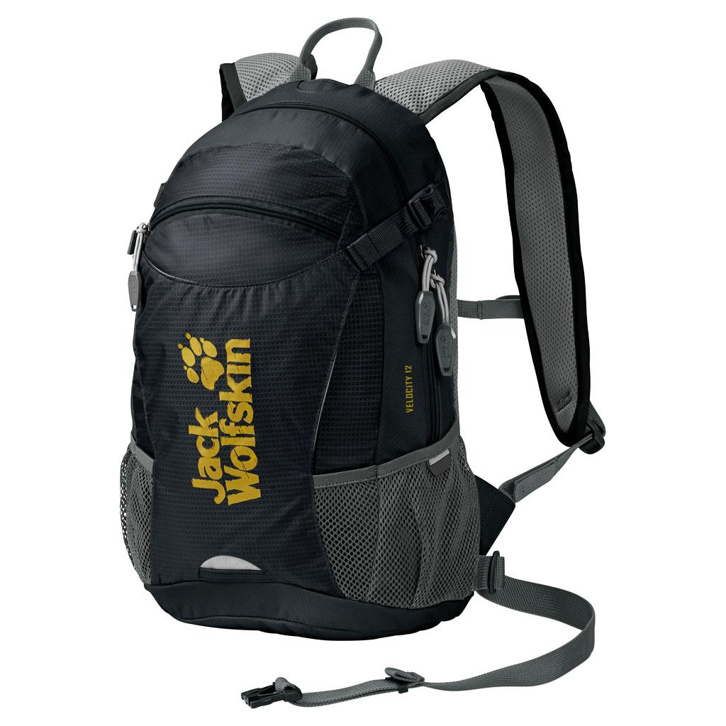 Рюкзак Jack Wolfskin Velocity 12, цвет: черный. 2004961-60008-2Качественный рюкзак, изготовленный из прочных материалов, и способный надежно сохранить все вещи от воздействия внешней среды. Предназначенный для туризма, он обладает одним внутренним отделом и карманом для органайзера. Особая система креплений дает гарантию плотного прилегания изделия к спине. Мягкая подушка в задней части не создает дискомфорта для мышц, а удобные лямки регулируются по высоте и не натирают плечи. Специальный вентиляционный канал обеспечивает свободный доступ воздуха к кожным покровам, что не создает предпосылок для перегрева тела в процессе похода. Один передний центральный карман и два боковых дополнительно вмещают в себя массу нужных для похода предметов. Изделие предусматривает крепление светодиодного фонаря, крепления для шлема, насоса, питьевой системы. При помощи компрессионного ремня рюкзак Wolfskin легко сжимается, уменьшаясь в объеме. Для защиты от дождя имеется прочный чехол.