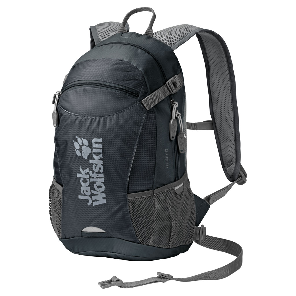 Рюкзак Jack Wolfskin Velocity 12, цвет: темно-серый. 2004961-6230L39845800Качественный рюкзак, изготовленный из прочных материалов, и способный надежно сохранить все вещи от воздействия внешней среды. Предназначенный для туризма, он обладает одним внутренним отделом и карманом для органайзера. Особая система креплений дает гарантию плотного прилегания изделия к спине. Мягкая подушка в задней части не создает дискомфорта для мышц, а удобные лямки регулируются по высоте и не натирают плечи. Специальный вентиляционный канал обеспечивает свободный доступ воздуха к кожным покровам, что не создает предпосылок для перегрева тела в процессе похода. Один передний центральный карман и два боковых дополнительно вмещают в себя массу нужных для похода предметов. Изделие предусматривает крепление светодиодного фонаря, крепления для шлема, насоса, питьевой системы. При помощи компрессионного ремня рюкзак Wolfskin легко сжимается, уменьшаясь в объеме. Для защиты от дождя имеется прочный чехол.