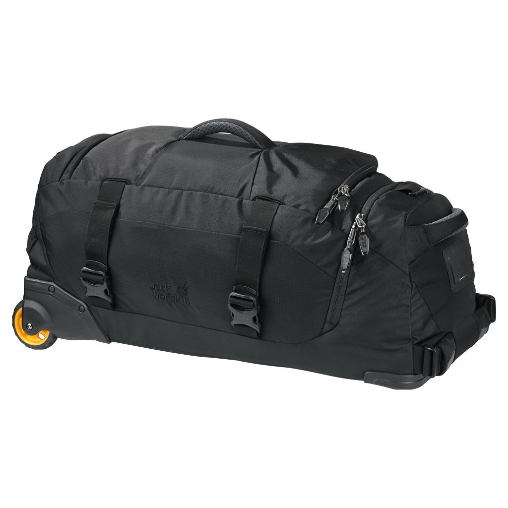 Сумка дорожная на колесах Jack Wolfskin Freight train 60, цвет: черный. 2005101-6000332515-2800Дорожная сумка на колесиках и с подвижной шлевкой. Комфорт в путешествии даже с тяжелым багажом: особенностью дорожной сумки являются два больших прочных колесика. Они справляются даже с неровной поверхностью.Вы можете везти чемодан за собой благодаря комфортной, регулируемой подвижной шлевке или нести его в руках. Кроме того, его удобно передвигать в любом направлении. Вместительное основное отделение удобно открывается и упаковывается благодаря длинной застежке-молнии по периметру. Особенно практично специальное отделение для обуви, благодаря которому ее можно перевозить отдельно от остального багажа, не боясь его запачкать.