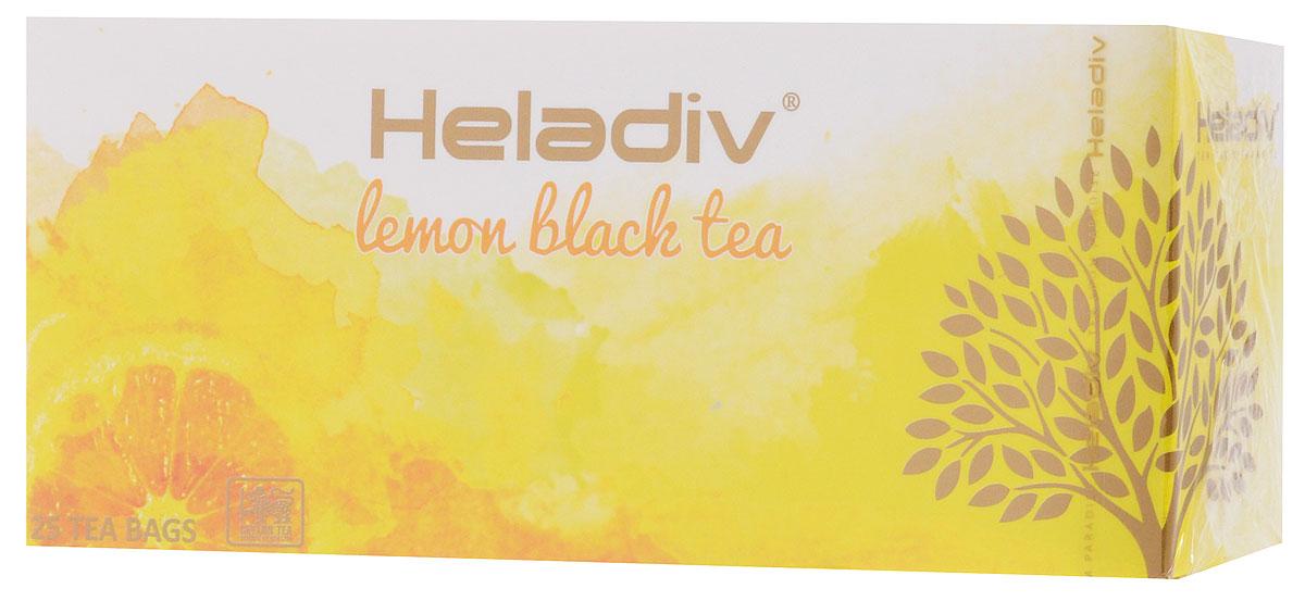 Heladiv Lemon чай черный в пакетиках с ароматом лимона, 25 шт101246Сочетание элитного цейлонского чая с ароматом лимона в Heladiv Lemon подарит вам незабываемое ощущение легкости. Пакетированный черный чай Heladiv обладает приятным вкусом и ярким настоем.