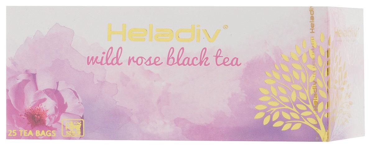 Heladiv Wild Rose чай черный в пакетиках с ароматом шиповника, 25 шт101246Сочетание элитного цейлонского чая с насыщенным ароматом дикой розы (шиповника) в Heladiv Wild Rose подарит вам незабываемое ощущение легкости. Пакетированный черный чай Heladiv обладает приятным вкусом и ярким настоем.