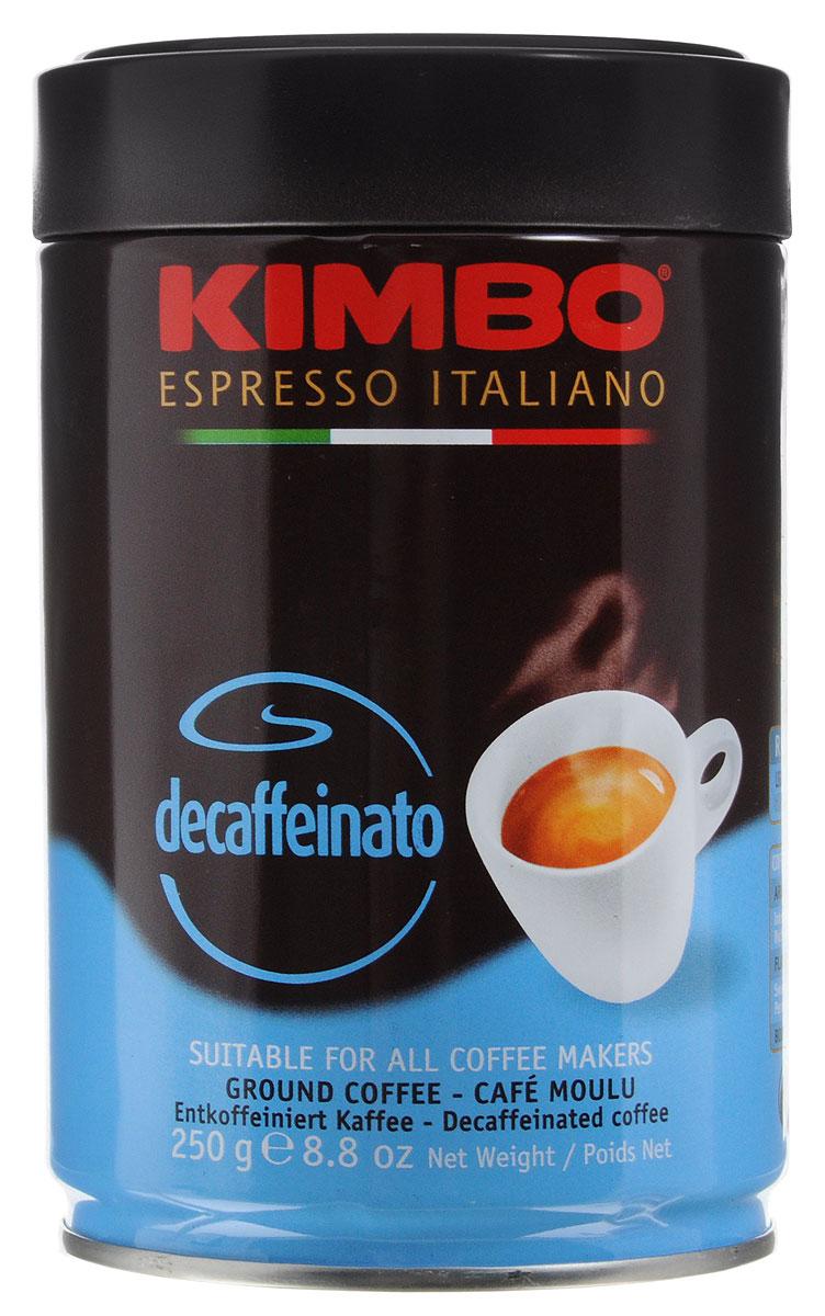 Kimbo Decaffinato декофеинизированный молотый кофе, 250 г0120710Kimbo Decaffinato - великолепный итальянский кофе с низким содержанием кофеина, который сохранил насыщенный аромат и богатый вкус классического эспрессо.