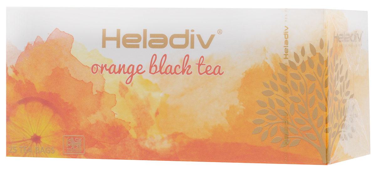 Heladiv Orange чай черный в пакетиках с ароматом апельсина, 25 шт0120710Сочетание элитного цейлонского чая с насыщенным ароматом апельсина в Heladiv Orange подарит вам незабываемое ощущение легкости. Пакетированный черный чай Heladiv обладает приятным вкусом, насыщенным ароматом апельсина и ярким настоем.