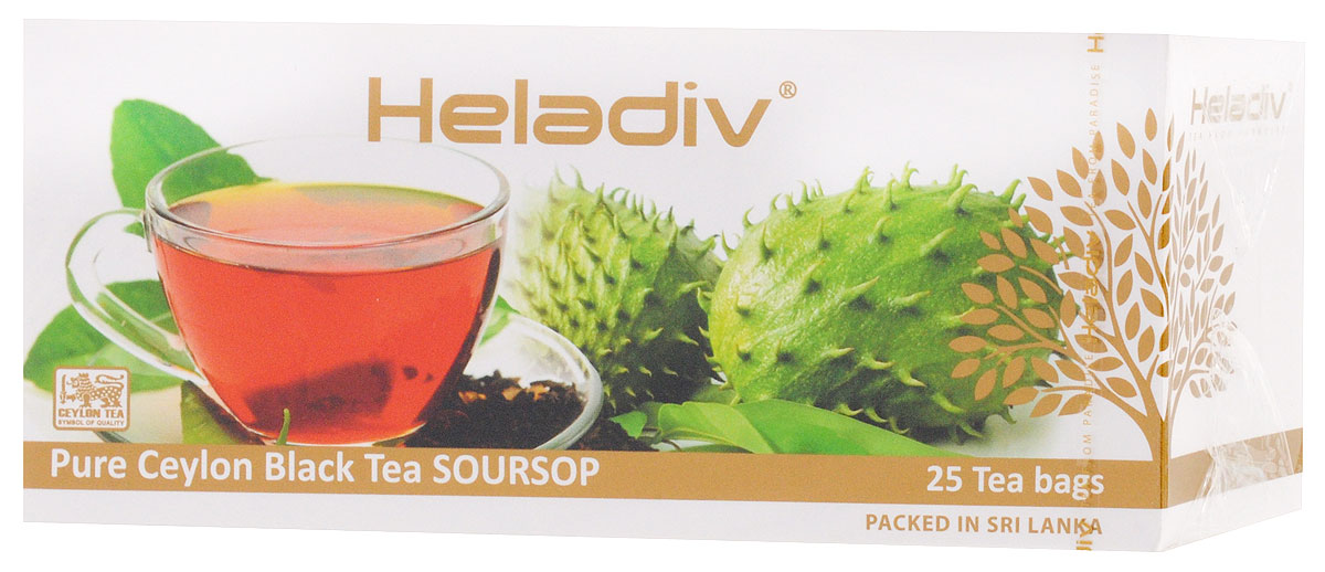 Heladiv Peko Soursop Black Tea чай черный в пакетиках с саусепом, 25 шт101246Heladiv Peko Soursop - черный чай крупнолистовой стандарт РЕКОЕ с добавлением фрукта саусеп. Необыкновенный аромат черного цейлонского чая и тропического фрукта оставит экзотическое послевкусие в течение всего дня.