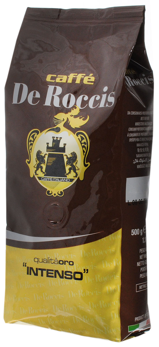 De Roccis Oro Intenso кофе в зернах, 500 г0120710De Roccis Oro Intenso - кофейная смесь, наделяющая эспрессо глубоким вкусом, а специальная обжарка придает напитку незабываемый насыщенный аромат.