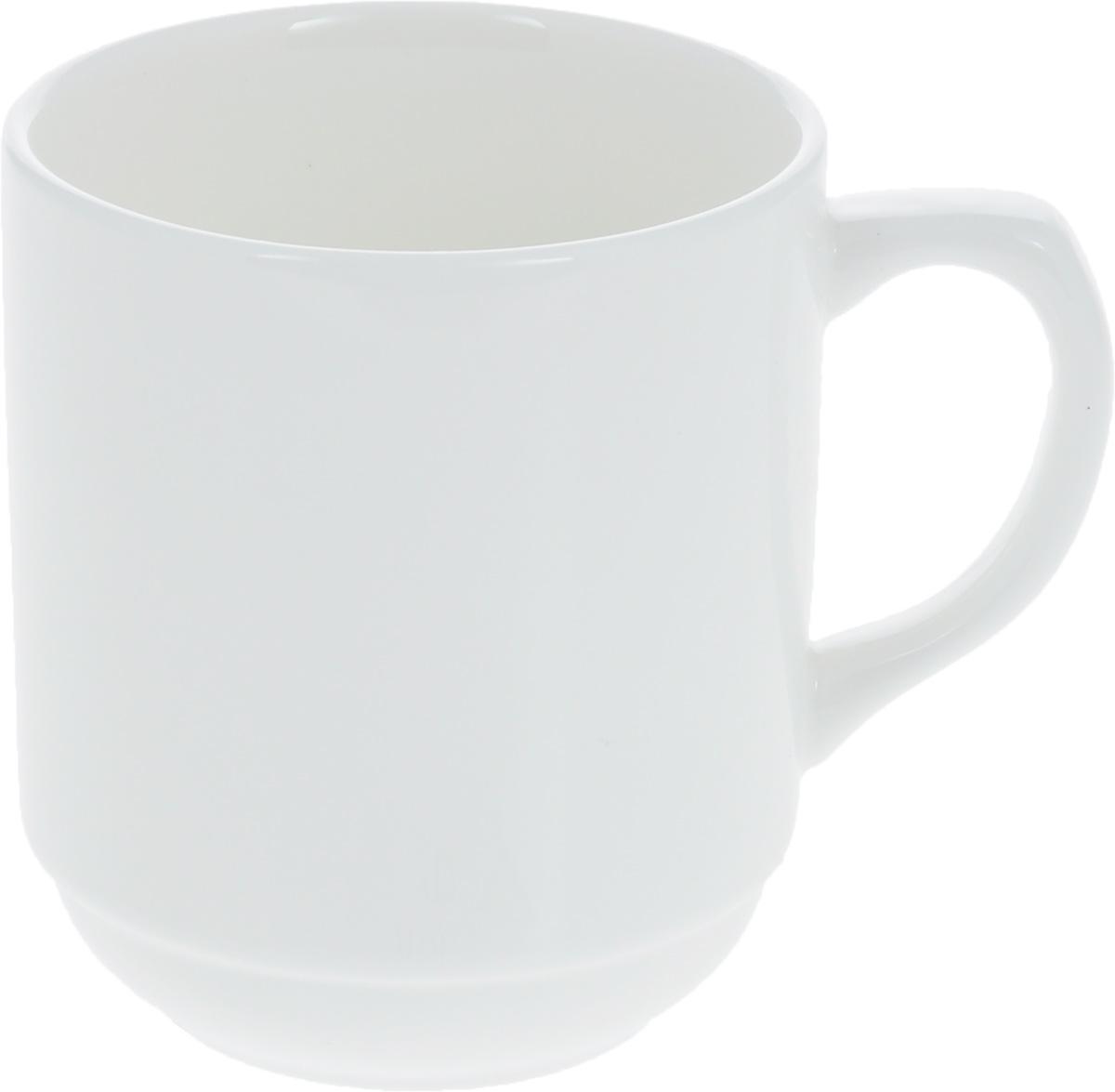 Кружка Wilmax, 320 мл115510Штабелируемая кружка Wilmax, выполненная из высококачественного фарфора, оснащена удобной ручкой. Такая кружка впишется в любой интерьер современной кухни, а также станет отличным дополнением к сервировке праздничного или обеденного стола. Диаметр кружки (по верхнему краю): 8 см.