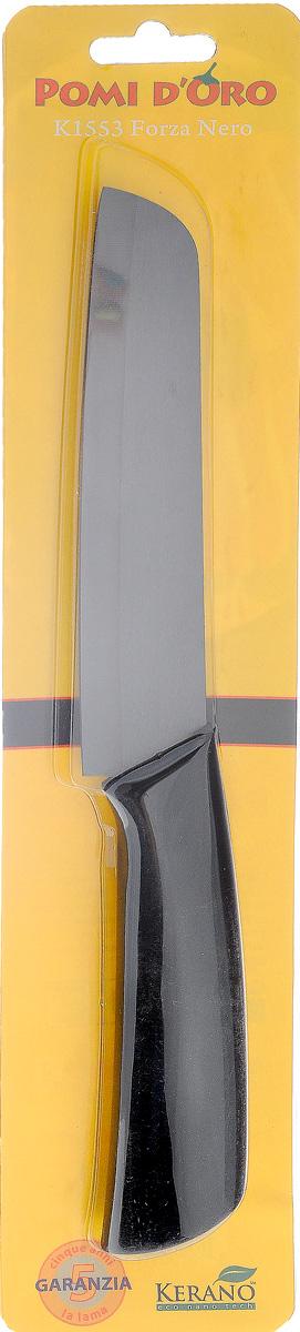 Нож филейный Pomi dOro Forza Nero, керамический, длина лезвия 15 см378842Филейный нож Pomi dOro Forza Nero изготовлен из черной керамики Kerano. Это уникальный керамический нано-материал, который не содержит вредные примеси, в том числе перфтороктановую кислоту (PTFE) и примеси, используемые для легированной стали. Химически нейтрален, не вступает в реакцию с пищей во время готовки. Изделие имеет удобную ручку с прорезиненным покрытием. Можно мыть в посудомоечной машине. Длина ножа: 27,5 см.