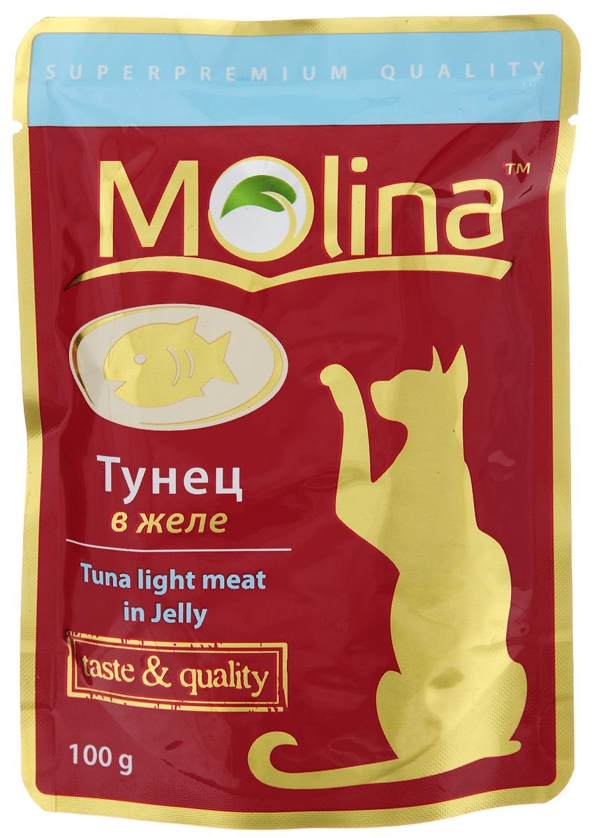 Консервы для кошек Molina, с тунцом в желе, 100 г4620002671136Консервы для кошек Molina - это высококачественный, сбалансированный, натуральный продукт, который содержит все необходимые компоненты, обеспечивающие организм ваших питомцев энергией, витаминами и минеральными веществам, необходимыми для здорового роста и развития. Консервы изготовлены из натурального тунца в желе.Консервы Molina - польза натуральных ингредиентов для долгой и здоровой жизни вашего питомца.Товар сертифицирован.