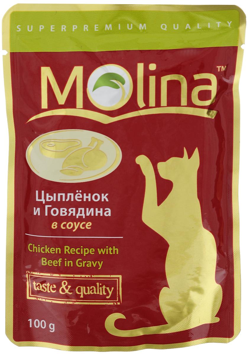 Консервы для кошек Molina, с цыпленком и говядиной в соусе, 100 г101246Консервы для кошек Molina - это высококачественный, сбалансированный, натуральный продукт, который содержит все необходимые компоненты, обеспечивающие организм ваших питомцев энергией, витаминами и минеральными веществам, необходимыми для здорового роста и развития. Консервы изготовлены из натурального мяса цыпленка и говядины в ароматном соусе.Консервы Molina - польза натуральных ингредиентов для долгой и здоровой жизни вашего питомца.Товар сертифицирован.
