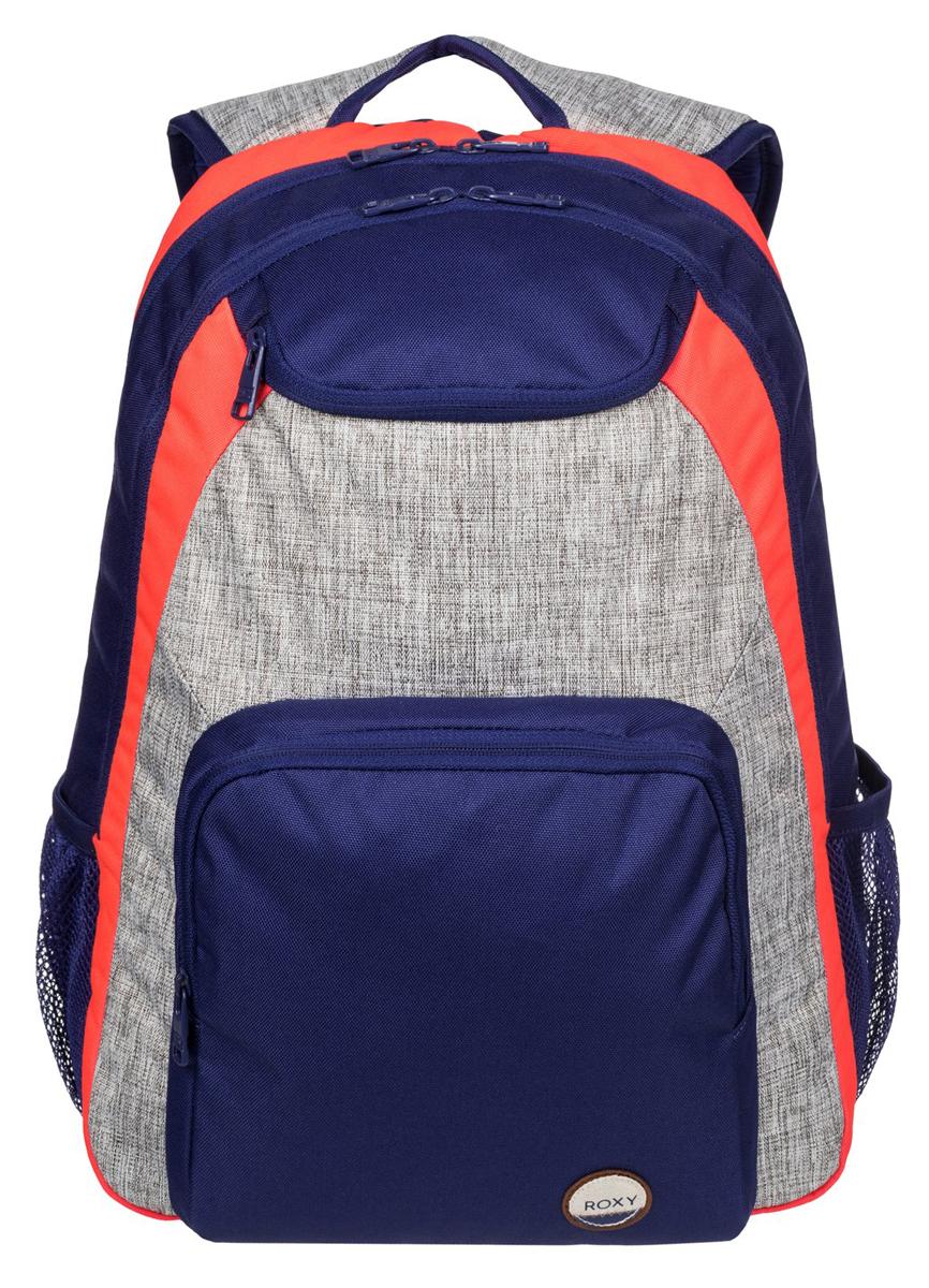 Рюкзак женский Roxy Shadow, цвет: синий, серый, оранжевый. ERJBP03271-BSQ0BM8434-58AEЖенский рюкзак Roxy выполнен из текстиля. У модели одно основное отделение. Передний карман на молнии. Рюкзак с регулируемыми по длине плечевыми лямками и петлей для подвешивания.