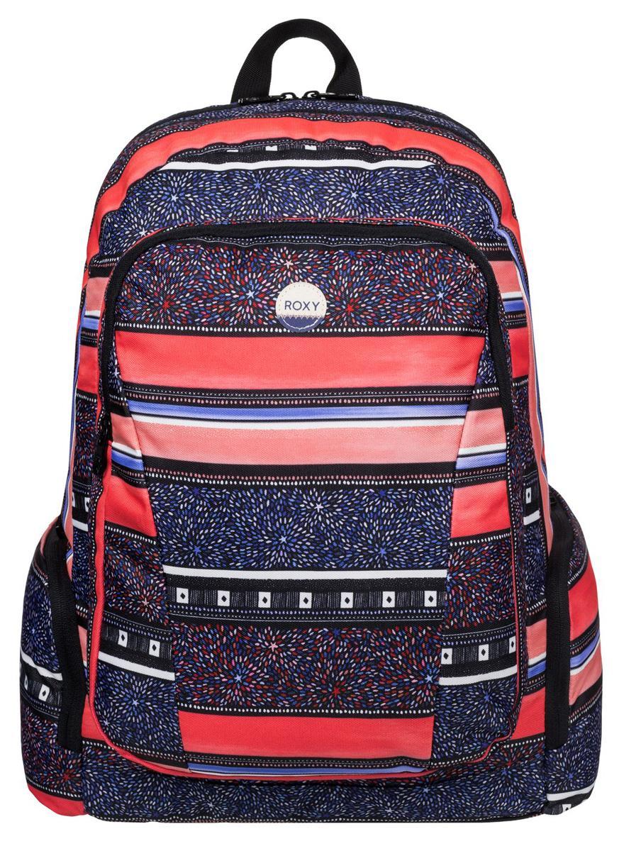 Рюкзак женский Roxy Alright, цвет: синий, оранжевый. ERJBP03275-MLR6BM8434-58AEЖенский рюкзак Roxy выполнен из текстиля. У модели три основных отделения, включая вшитый чехол для ноутбука. Передний карман на молнии. Боковые стороны дополнены двумя карманами. Рюкзак с регулируемыми по длине плечевыми лямками и петлей для подвешивания и карманом с органайзером.