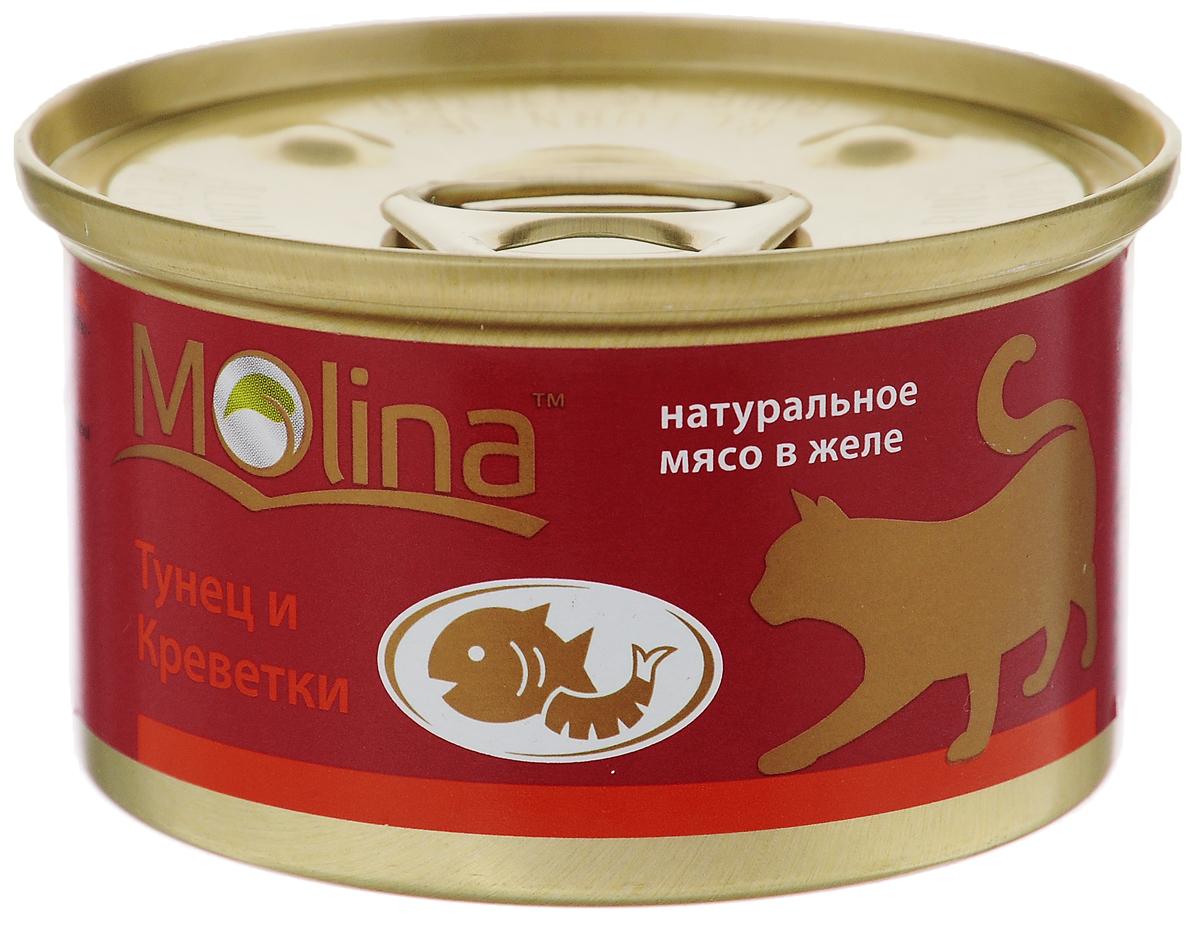 Консервы для кошек Molina, с тунцом и креветками в желе, 80 г0120710ККонсервы для кошек Molina - это высококачественный, сбалансированный, натуральный продукт, который содержит все необходимые компоненты, обеспечивающие организм ваших питомцев энергией, витаминами и минеральными веществам, необходимыми для здорового роста и развития. Консервы изготовлены из натурального мяса тунца и креветок в желе.Консервы Molina - польза натуральных ингредиентов для долгой и здоровой жизни вашего питомца.Товар сертифицирован.