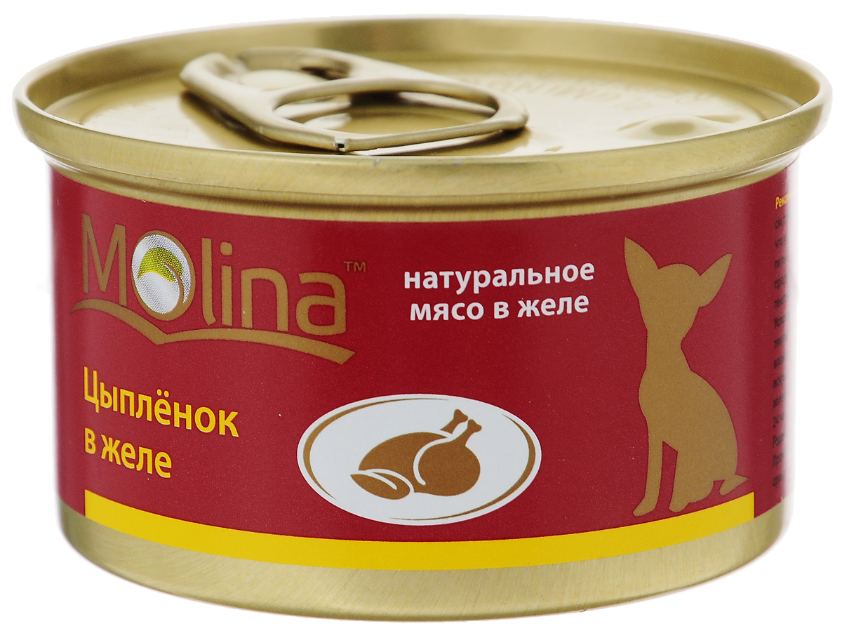 Консервы для собак Molina, с цыпленком в желе, 85 г4620002671006Консервы для собак Molina - это высококачественный, сбалансированный, натуральный продукт, который содержит все необходимые компоненты, обеспечивающие организм ваших питомцев энергией, витаминами и минеральными веществам, необходимыми для здорового роста и развития. Консервы изготовлены из натурального мяса цыпленка в желе.Консервы Molina - польза натуральных ингредиентов для долгой и здоровой жизни вашего питомца.Товар сертифицирован.