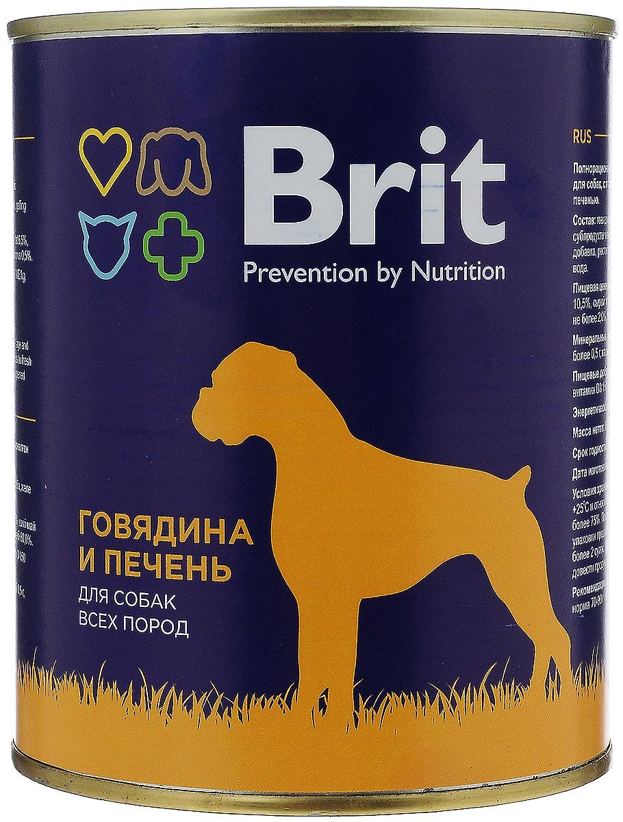 Консервы для собак Brit, с говядиной и печенью, 850 г0120710Консервы Brit - полнорационное питание для взрослых собак всех пород. Высококачественный корм идеально подойдет вашему любимцу. Консервы лучше усваиваются, чем сухие корма. Консервы Brit - прекрасное и вкусное дополнение к рациону вашего любимца. Товар сертифицирован.