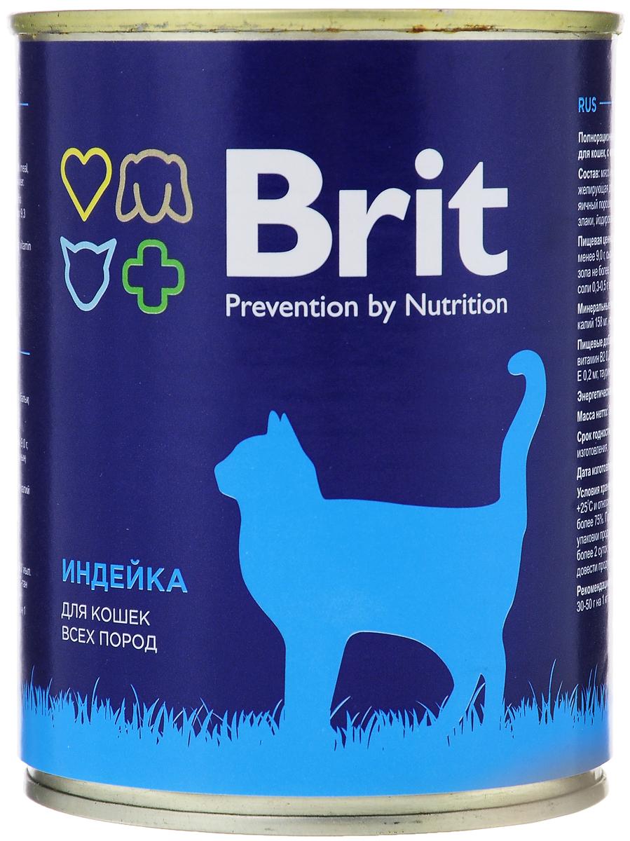 Консервы для кошек Brit, с индейкой, 340 г0120710Консервы Brit - полнорационное питание для кошек всех пород с индейкой. Такой корм непременно придется по вкусу вашему любимцу. В состав консервов входят все необходимые для активной жизни витамины и добавки. Лакомство поможет усилить иммунитет, нормализовать пищеварение, придать шерстке естественную мягкость и блеск. Консервы Brit прекрасно подойдут для ежедневного рациона, обеспечивая питомца энергией и насыщая на длительное время. Товар сертифицирован.