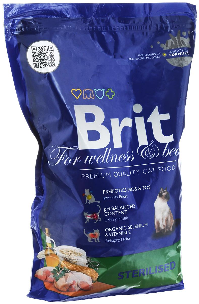 Корм сухой Brit Premium для стерилизованных кошек и кастрированных котов, 1,5 кг8594031443902Сбалансированный полнорационный корм Brit Premium предназначен для стерилизованных кошек и кастрированных котов. Основные достоинства:- Не содержит пшеницы, что максимально снижает пищевую аллергию.- Содержит пребиотики MOS и FOS, способствуя повышению иммунитета и поддержанию здоровой микрофлоры кишечника. - Содержит органический селен и витамин Е - факторы замедляющие процессы старения.Товар сертифицирован.