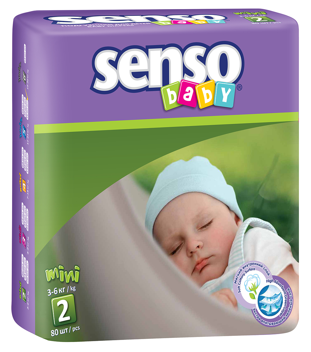 Senso Baby Подгузники Mini 3-6 кг 80 шт - Подгузники и пеленки