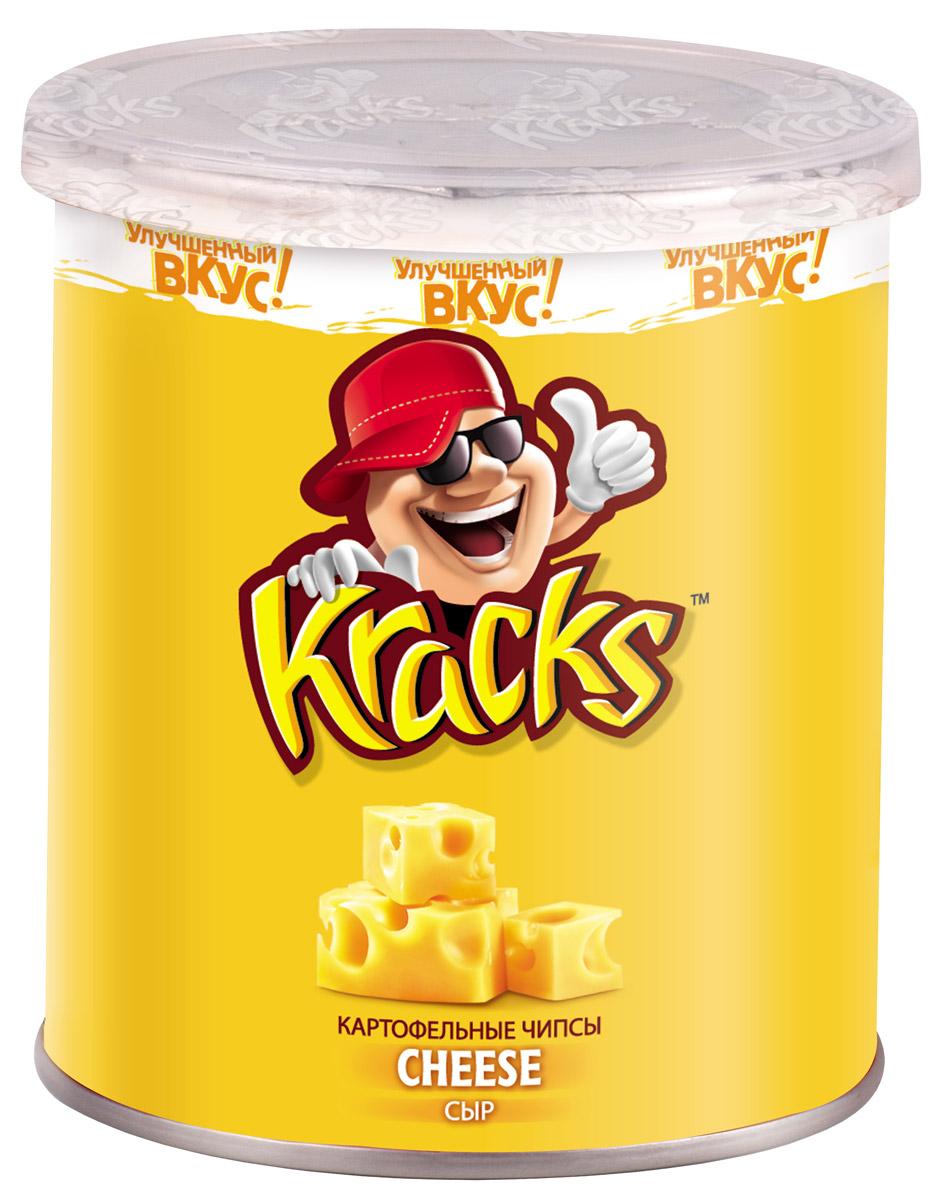 Kracks картофельные чипсы со вкусом сыра, 45 г0120710Kracks - это чипсы из высококачественного картофеля с ароматом сыра и обильно посыпанные сырной крошкой. Их основными особенностями являются равномерность обжаривания изогнутых пластинок без избытка масла, а также упаковка в виде тубы, удобная для транспортировки и употребления.