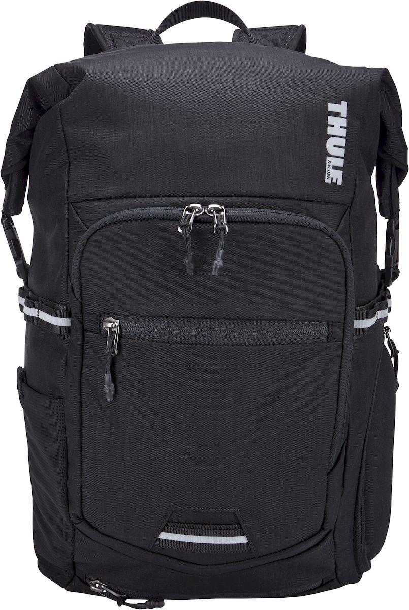 Велосипедный рюкзак Thule Pack n Pedal Commuter Backpack, цвет: черный100070Этот стильный и водонепроницаемый рюкзак идеально подходит для регулярных поездок на велосипеде в любую погоду или транспортировки вашего снаряжения в нужное место.Вещи останутся сухими благодаря водонепроницаемому основному отделению со сворачивающейся верхней частью.Шлем — когда он не используется — можно надежно закрепить с помощью убирающегося крепления.Складываемая накидка от дождя с отражающей поверхностью для повышенной заметности на дороге повышает защиту сумки.Изготовленное по технологии горячей прессовки ударопрочное отделение SafeZone защитит ваши очки, смартфон или другие хрупкие вещи.Съемный отсек для ноутбуков с диагональю до 15 дюймов с мягкой прокладкой и чехлом для планшета расположен сверху сумки, а не вплотную к вашей спине, что дополнительно повышает комфорт.Элементы с отражающей поверхностью по всей окружности повышают вашу заметность на дороге со всех сторон.Вы можете безопасно хранить вещи благодаря специальному отделению с потайным карманом с U-образным замком.Задняя панель из материала EVA с выемками для вентиляции и воздухопроницаемые наплечные ремни обеспечивают максимальный комфорт и вентиляцию.Точки крепления проблесковых фонарей на задней панели и накидке от дождя избавляют от необходимости фиксированных креплений на самом велосипеде.Яркая внутренняя отделка поможет легко найти мелкие предметы/Размеры: 38 x 17 x 48 см