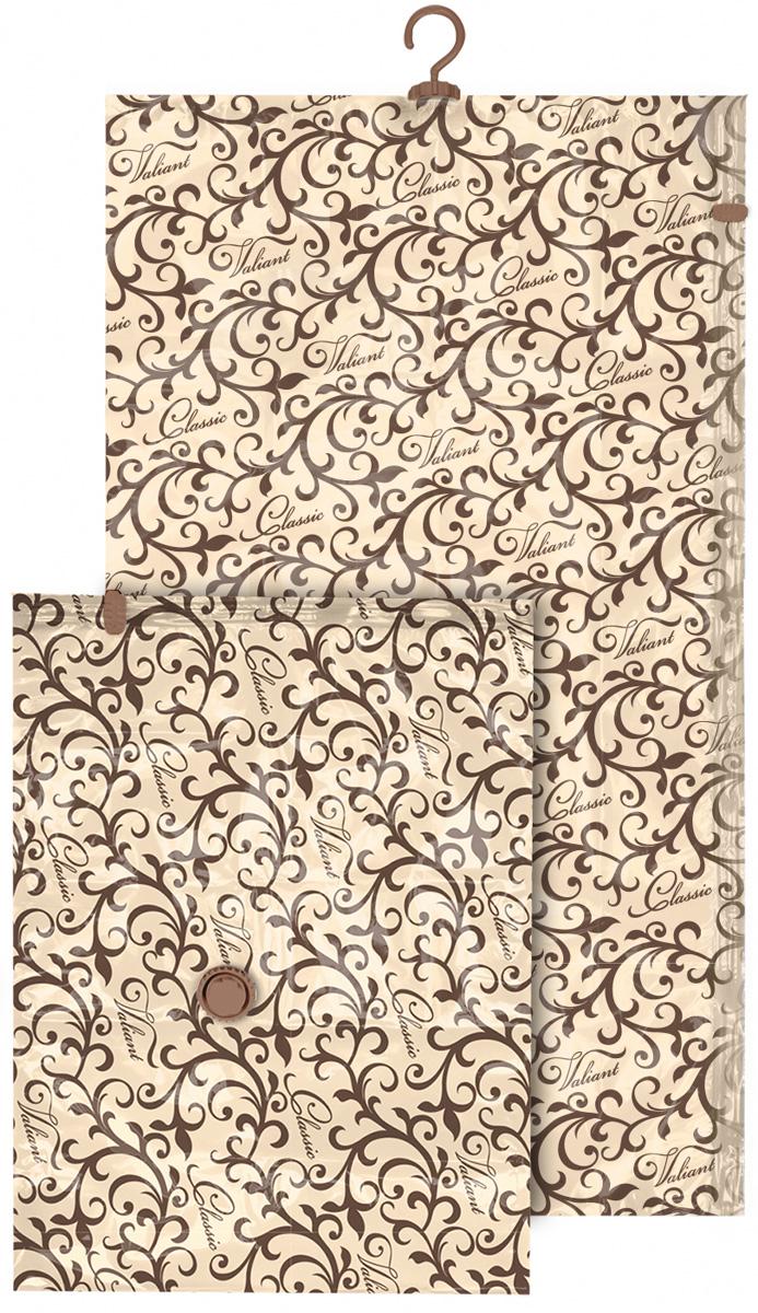 Набор чехлов для вакуумного хранения Valiant Classic, 145 х 70 см, 75 х 55 см, 2 штU210DFНабор Valiant Classic состоит из двух чехлов для вакуумного хранения, которые помогут существенно сэкономить место в шкафу. Вещи сжимаются в объеме на 80%, полностью сохраняя свое качество. Хранить их можно в течение целого сезона (осенью и зимой - летний гардероб, летом - зимние свитера, шарфы, теплые одеяла). Чехлы также защищают вещи от любых повреждений - влаги, пыли, пятен, плесени, моли и других насекомых, а также от обесцвечивания, запахов и бактерий. Откачать воздух можно любым стандартным пылесосом (отверстие клапана 27 мм) за 30 секунд. Чехлы закрываются на замок zip-lock. Не подходят для изделий из меха и кожи.Размер чехлов: 145 х 70 см, 75 х 55 см.