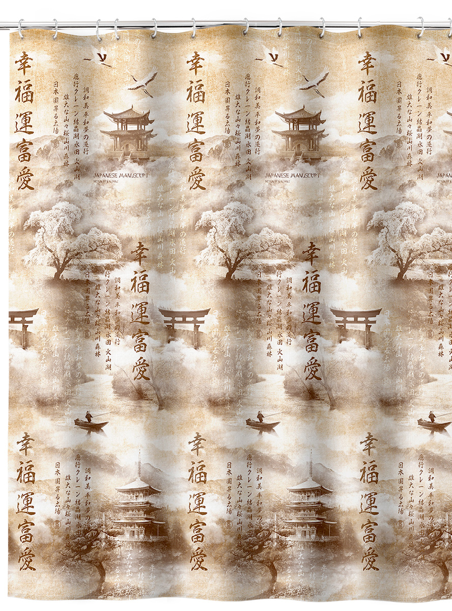 Штора для ванной комнаты Valiant  Japanese Manuscript , 180 х 180 см - Шторки, кольца и карнизы для ванной