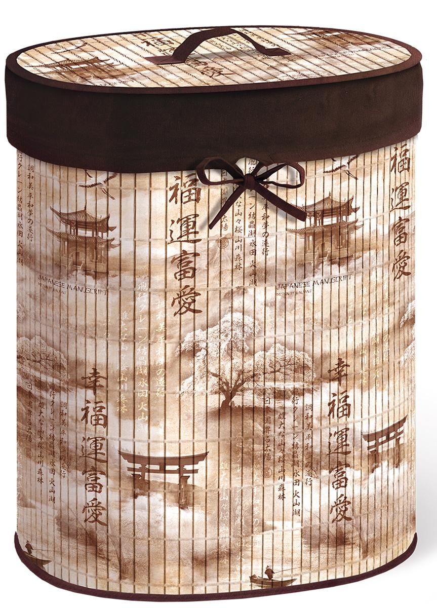 Корзина для белья Valiant Japanese White, складная, с крышкой, цвет: светло-коричневый, коричневый, 30 х 40 х 55 см391602Корзина для белья Valiant Japanese Manuscript изготовлена из бамбука и предназначена для сбора и хранения вещей перед стиркой. Корзина имеет каркасную конструкцию, которая обеспечивает легкость складывания и раскладывания корзины. Компактная и легкая, она не занимает много места, аккуратно хранит белье. Изделие оснащено легкой крышкой. Корзина для белья Valiant Japanese Manuscript со стильным дизайном гармонично смотрится в современном интерьере и станет незаменимым аксессуаром.