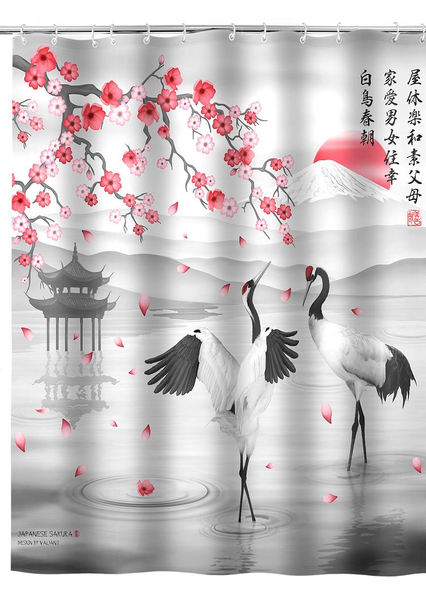 Штора для ванной комнаты Valiant Japanese Sakura, 180 х 180 см531-105Шторадля ванной комнаты Valiant Japanese Sakura, изготовленная из полиэстера, приятна на ощупь, устойчива к разрывам и проколам, не пропускает воду. Она надежно защитит от брызг и капель пространство вашей ванной комнаты в то время, пока вы принимаете душ, а привлекательный дизайн шторы наполнит вашу ванную комнату положительной энергией.