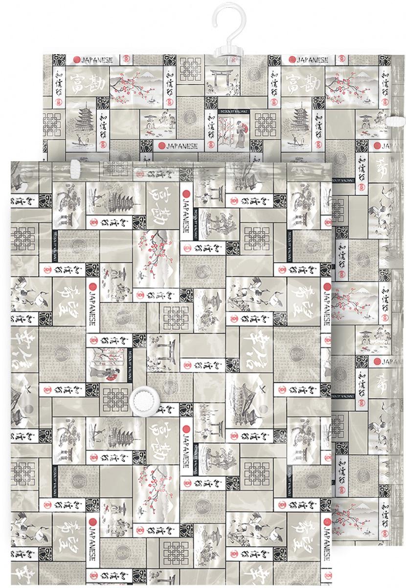Набор чехлов для вакуумного хранения Valiant Japanese White, 105 х 70 см, 90 х 70 см, 2 штБрелок для ключейНабор Valiant Japanese White состоит из двух чехлов для вакуумного хранения, которые помогут существенно сэкономить место в шкафу. Вещи сжимаются в объеме на 80%, полностью сохраняя свое качество. Хранить их можно в течение целого сезона (осенью и зимой - летний гардероб, летом - зимние свитера, шарфы, теплые одеяла). Чехлы также защищают вещи от любых повреждений - влаги, пыли, пятен, плесени, моли и других насекомых, а также от обесцвечивания, запахов и бактерий. Откачать воздух можно любым стандартным пылесосом (отверстие клапана 27 мм) за 30 секунд. Чехлы закрываются на замок zip-lock. Не подходят для изделий из меха и кожи.Размер чехлов: 105 х 70 см, 90 х 70 см.
