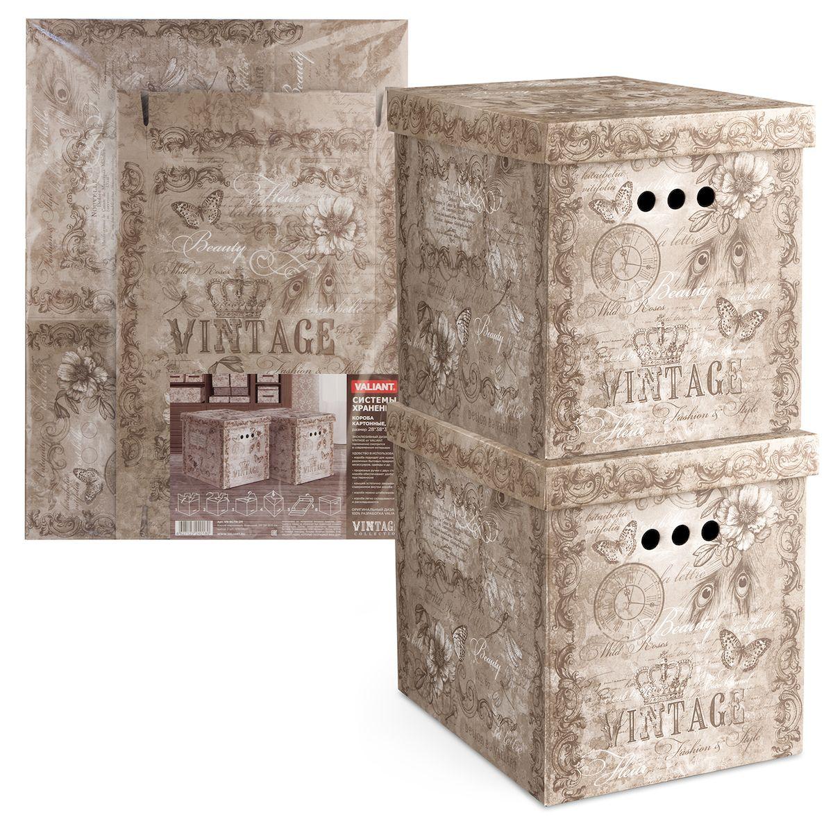 Короб для хранения Valiant Vintage, складной, 28 х 38 х 31,5 см, 2 штVN-BCTN-2MКороб для хранения Valiant Vintage изготовлен из картона. Изделие легко и быстро складывается. Оснащен крышкой и тремя отверстиями, которые позволяют удобно его выдвигать. Такой короб прекрасно подойдет для хранения бытовых мелочей, аксессуаров для рукоделия и других мелких предметов. С ним все мелкие вещи будут храниться аккуратно и не потеряются. Высота изделия: 31,5 см.Длина короба: 38 см.Ширина короба: 28 см.