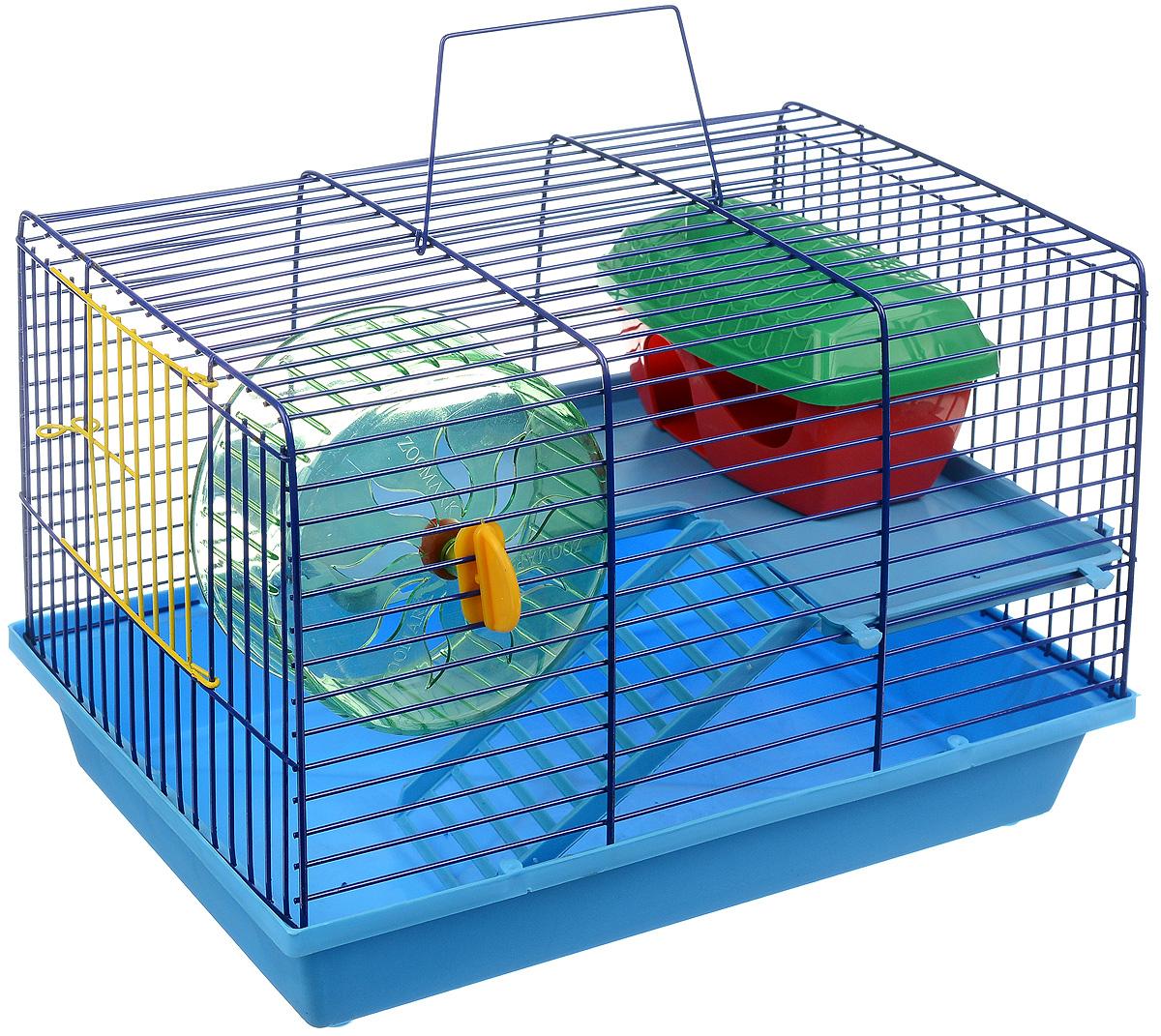 Клетка для грызунов ЗооМарк, 2-этажная, цвет: голубой поддон, синяя решетка, 36 х 23 х 24 см0120710Клетка ЗооМарк, выполненная из полипропилена и металла, подходит для мелких грызунов. Изделие двухэтажное, оборудовано лестницей, колесом для подвижных игр и пластиковым домиком. Клетка имеет яркий поддон, удобна в использовании и легко чистится. Сверху имеется ручка для переноски. Такая клетка станет уединенным личным пространством и уютным домиком для маленького грызуна.