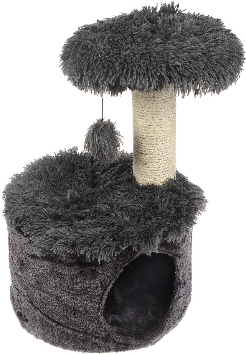 Домик для кошек Zolux Yeti One, с когтеточкой, цвет: темно-серый, белый, 35 х 35 х 52,5 см0120710Большой, уютный домик с когтеточкой Zolux Yeti One отлично подойдет для котят и взрослых кошек. Изделие выполнено из дерева и обтянута искусственным мехом. Круглый домик расположен на небольшой подставке, а сверху устанавливается когтеточка с игрушкой. Такой домик станет не только идеальным местом для подвижных игр вашего любимца, но и местом для отдыха. Благодаря столбику-когтеточке, обернутой веревками из сизаля, ваша кошка удовлетворит природную потребность точить когти, что поможет сохранить вашу мебель и ковры. Для приучения любимца к когтеточке можно натереть ее сухой валерьянкой или кошачьей мятой. Длина когтеточки: 27 см. Диаметр отверстия: 16 см.